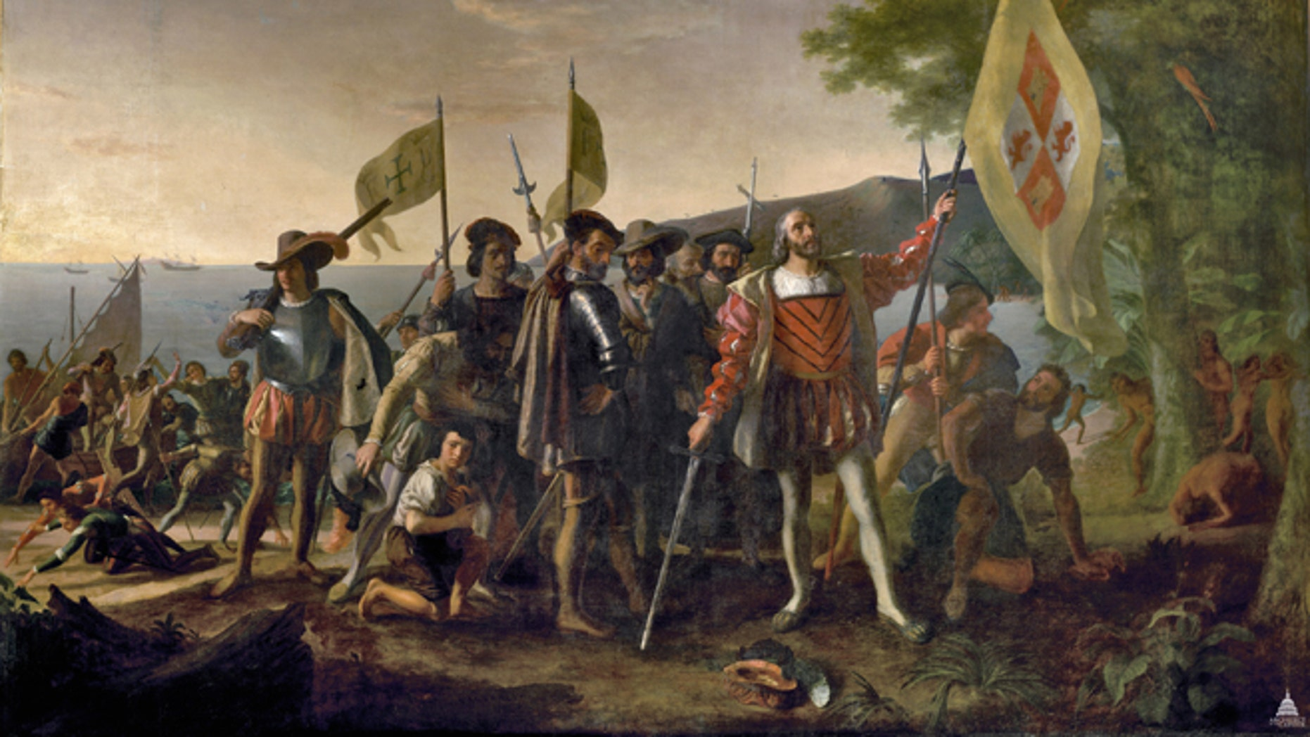 Christopher Columbus and members of his crew on a beach in the West Indies, newly landed from his flagship Santa Maria on October 12, 1492.