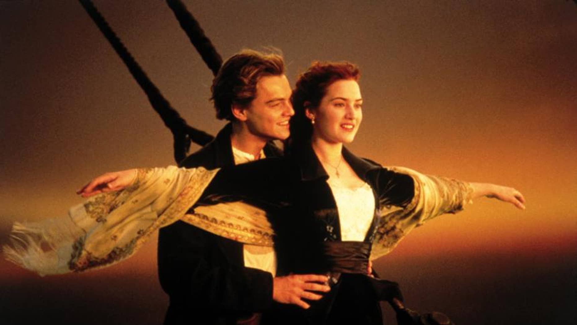"Jack Dawson (Leonardo DiCaprio) holds Rose DeWitt Bukater (Kate Winslet) in a famous scene from ""Titanic."" (They should have never let each other go!)"