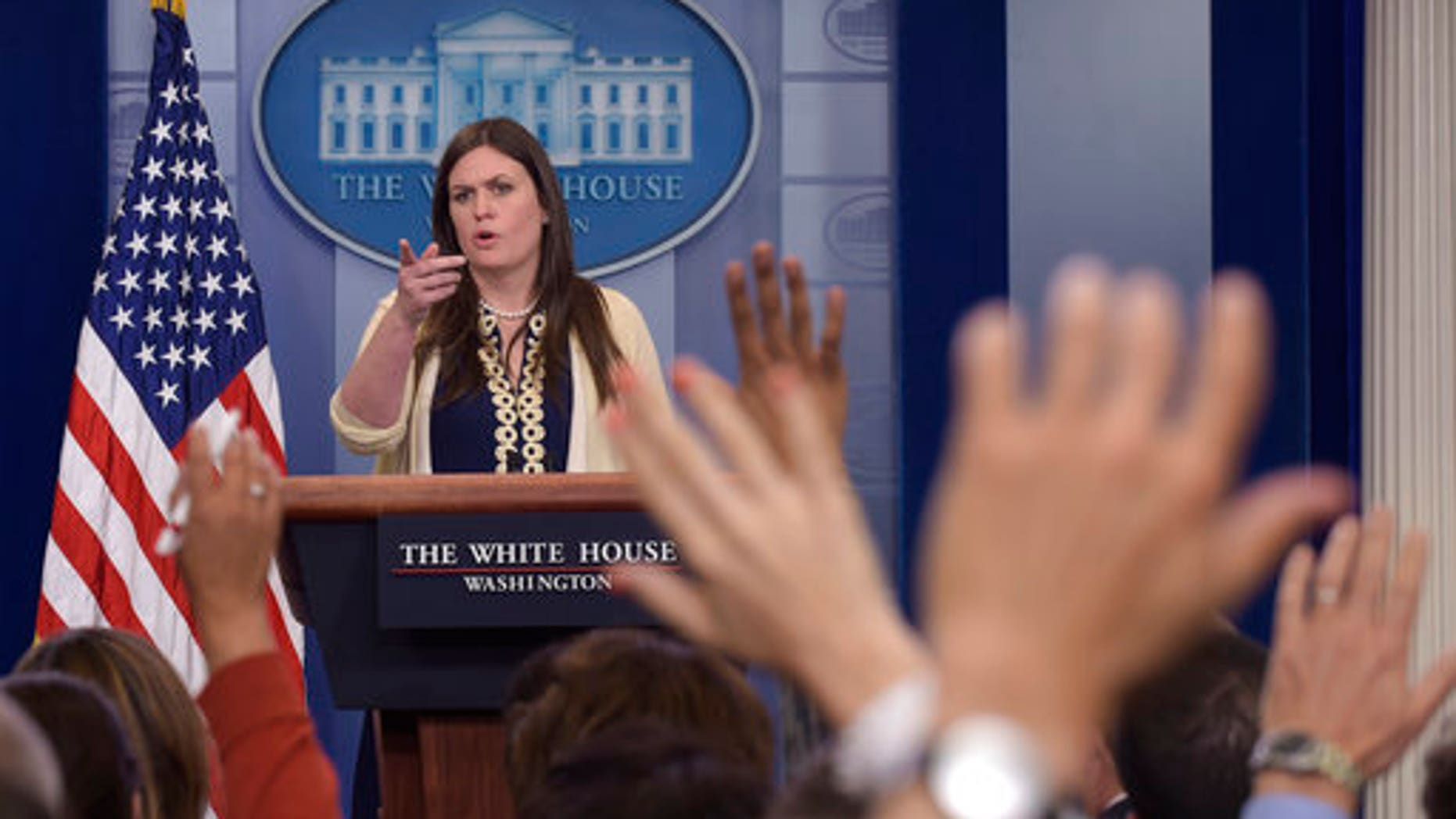 Deputy White House press secretary Sarah Huckabee Sanders speaks during a daily press briefing at the White House.