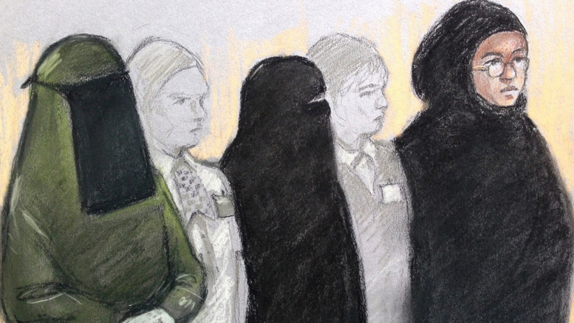 Court artist sketch by Elizabeth Cook of three women,  Mina Dich, 43, left, Rizlaine Boular, 21, centre,  and Khawla Barghouthi, 20, right,  appearing at Westminster Magistrates Court  in London charged with preparing a terrorist act and conspiracy to murder, Thursday May 11, 2017. Boular, of central London, was shot by police during a raid by elite armed offices at a terraced house in Harlesden Road, north London, on April 27. (Elizabeth Cook/PA via AP)