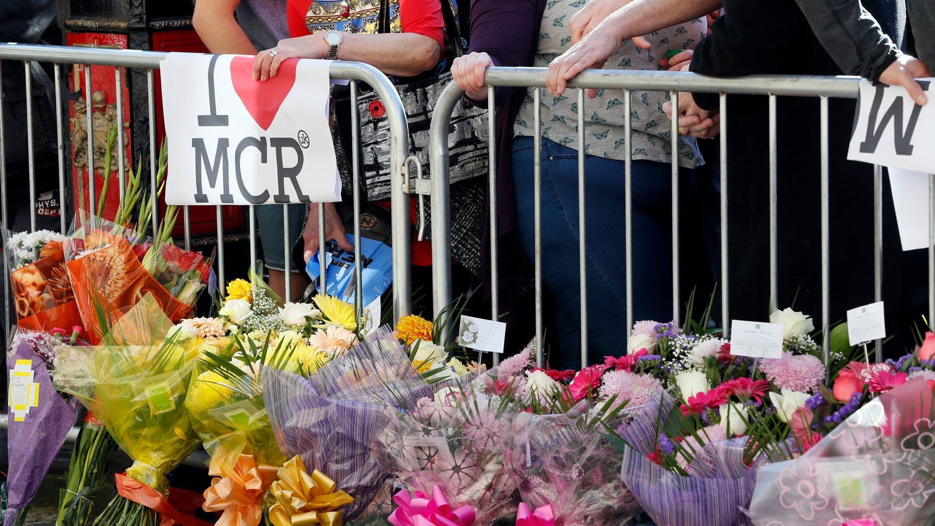Flowers seen in Manchester after a bombing at an Ariana Grande concert took the lives of 22 people and injured 119 others.