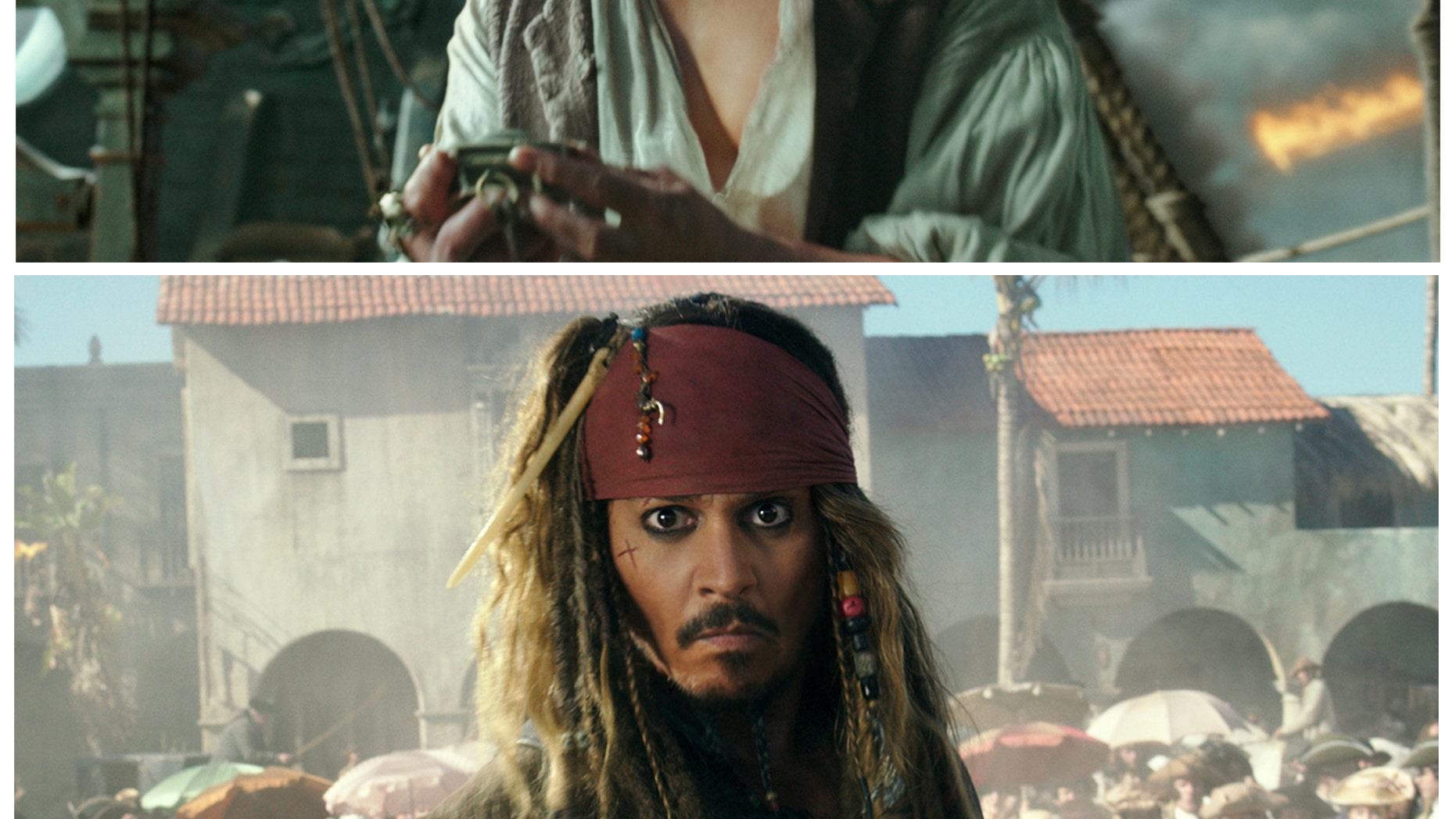 """This combination of photos released by Disney, shows the character Jack Sparrow at two stages of his life in """"Pirates of the Caribbean: Dead Men Tell No Tales.""""  Johnny Depp, who portrays the character, is the latest mega-star to get the drastic de-aging treatment on screen. Lola Visual Effects first captured a performance from the actual actor and then manipulated it. It went through a number of iterations, over the course of six months, to arrive at the perfect age. The final shots, of which there are about 20-25, took about 15 artists a year of work. (Disney via AP)"""