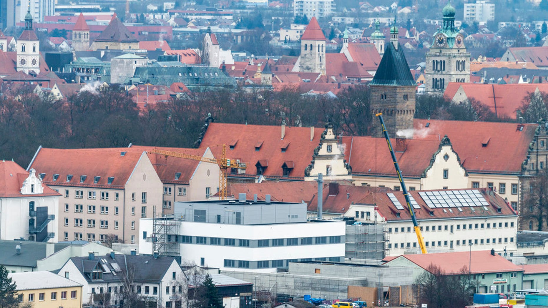 FILE - the Jan. 21, 2014 file photo shows the prison in Regensburg, southern Germany, which will be evacuated after a WWII bomb was found nearby, (Armin Weigel/dpa via AP)