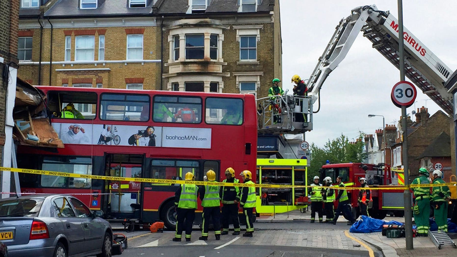 At least 10 people were injured in a London bus crash.