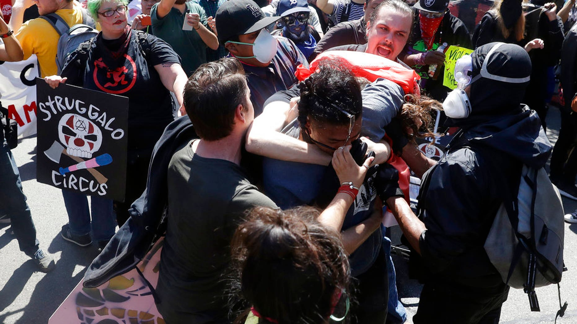 Demonstrators clash during a free speech rally on Aug. 27.
