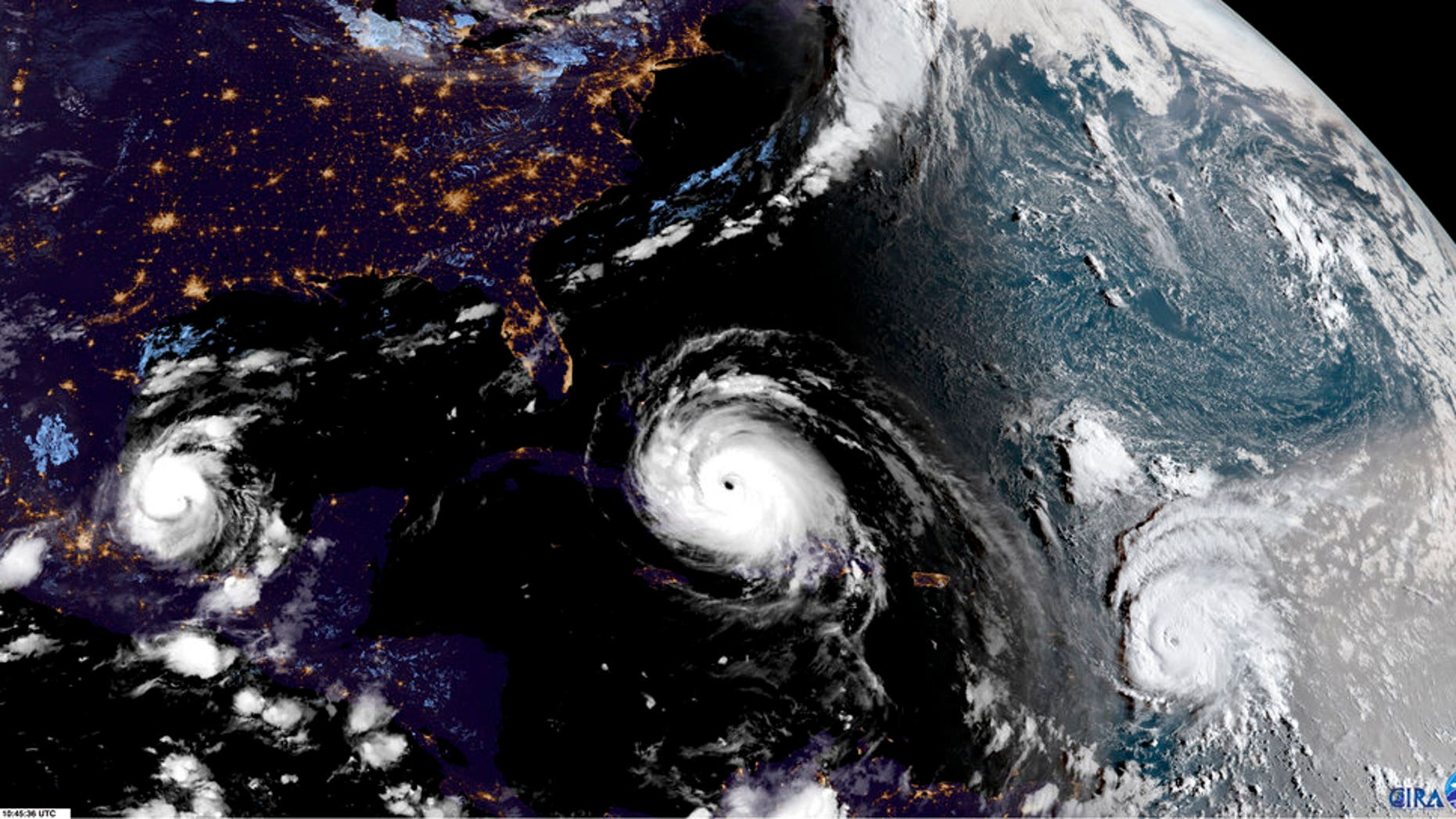 Satellite image on Friday showed Hurricane Irma (center) with Hurricane Katia (left) and Hurricane Jose (right) in the Atlantic Ocean.