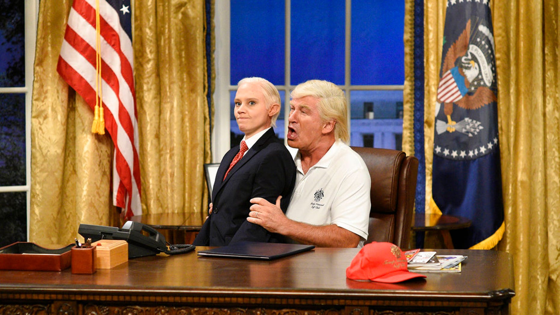 """Alec Baldwin portrays President Trump during the cold open on """"Saturday Night Live."""""""