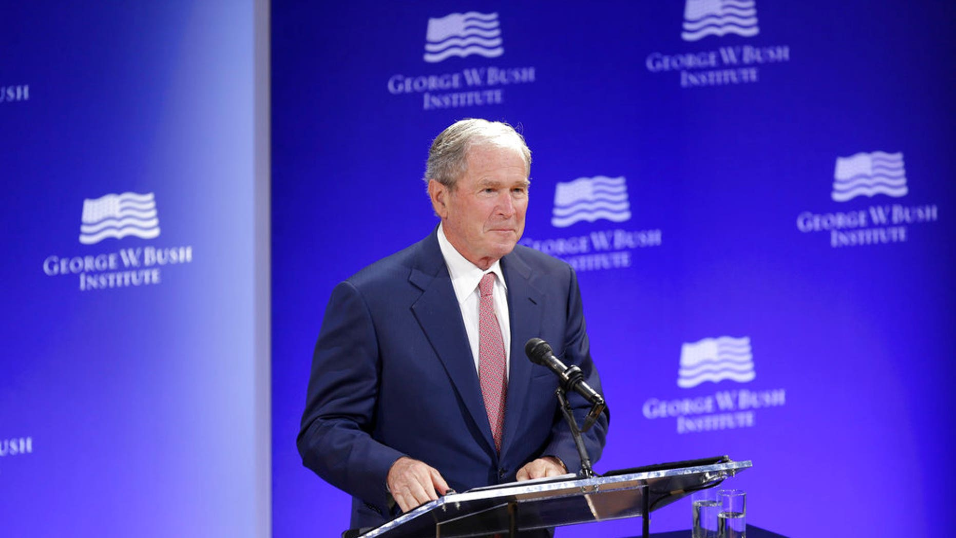 Former President George W. Bush speaks at a forum sponsored by the George W. Bush Institute in New York, Thursday, Oct. 19, 2017.