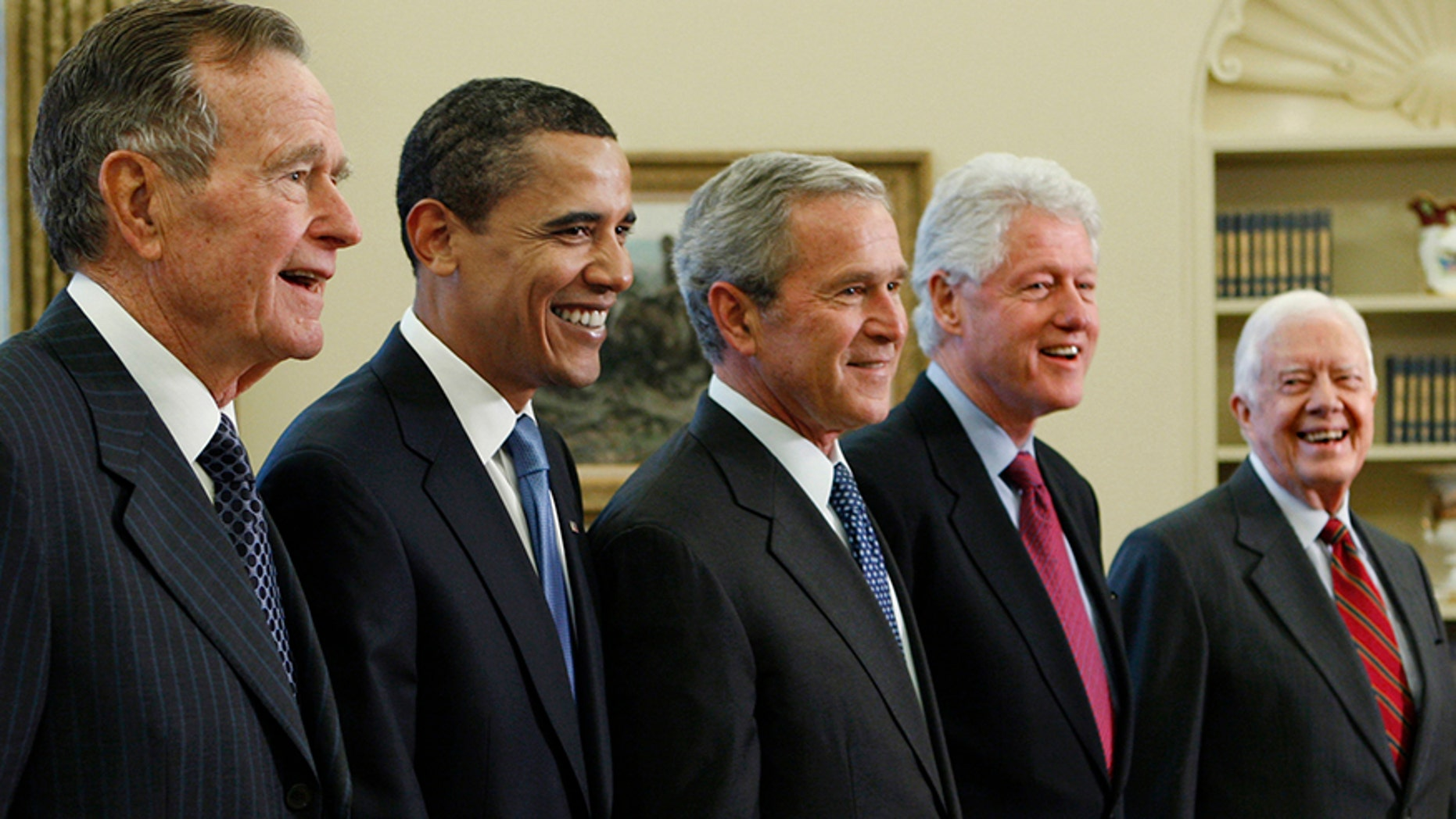 All five living former U.S. presidents will be attending a concert Saturday night, Oct. 21, 2017, in a Texas college town, raising money for relief efforts from Hurricane Harvey, Irma and Maria's devastation in Texas, Florida, Puerto Rico and the U.S. Virgin Islands.