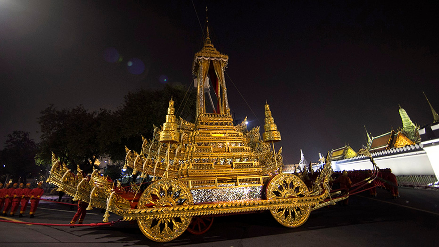 Thailand on Wednesday began an elaborate five-day funeral for King Bhumibol with his son, the new monarch, performing Buddhist merit-making rites in preparation for moving Bhumibol's remains to a spectacular golden crematorium