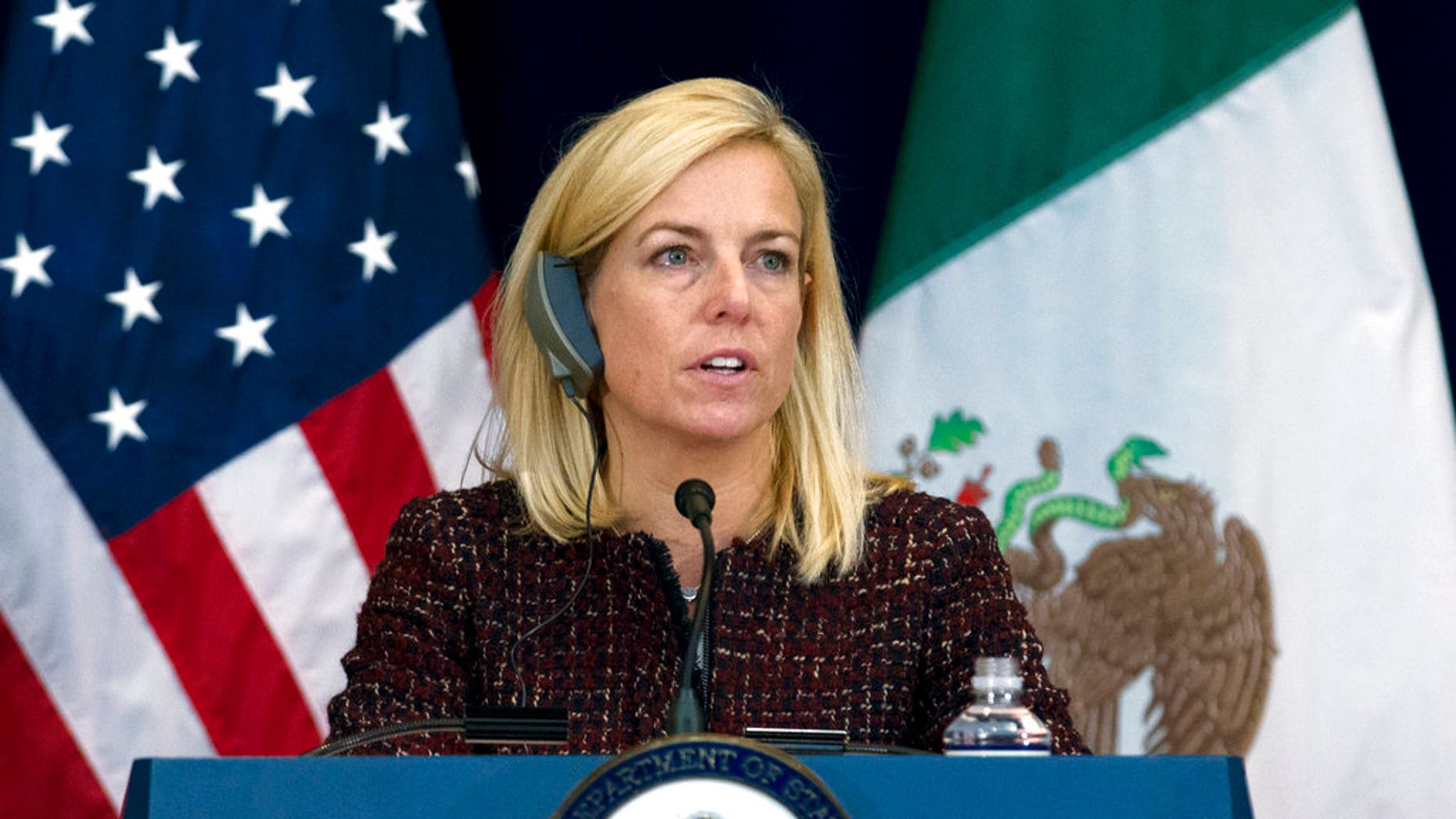 Secretary of Homeland Security Kirstjen Nielsen speaks during a news conference, after a US-Mexico bilateral meeting on disrupting transnational criminal organizations at State Department in Washington, Thursday, Dec. 14, 2017. ( AP Photo/Jose Luis Magana)