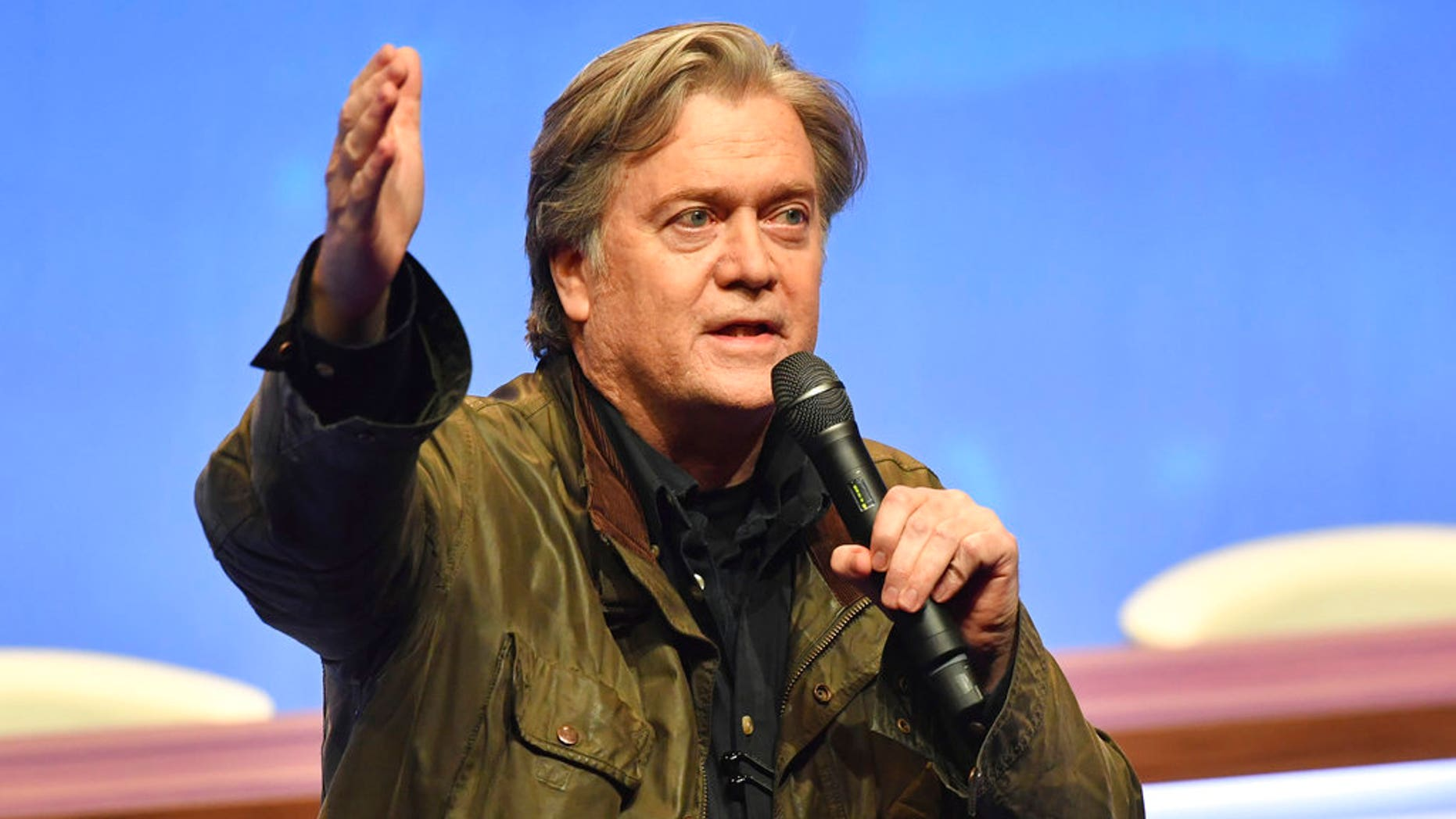 Former White House strategist Steve Bannon addresses members of the French far-right National Front at a party congress in Lille, France, March 10, 2018.