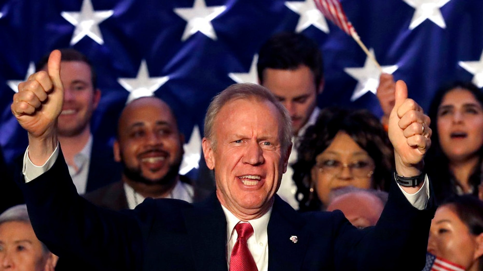 Illinois Republican Gov. Bruce Rauner addresses the crowd on primary election night, in Chicago, March 20, 2018.