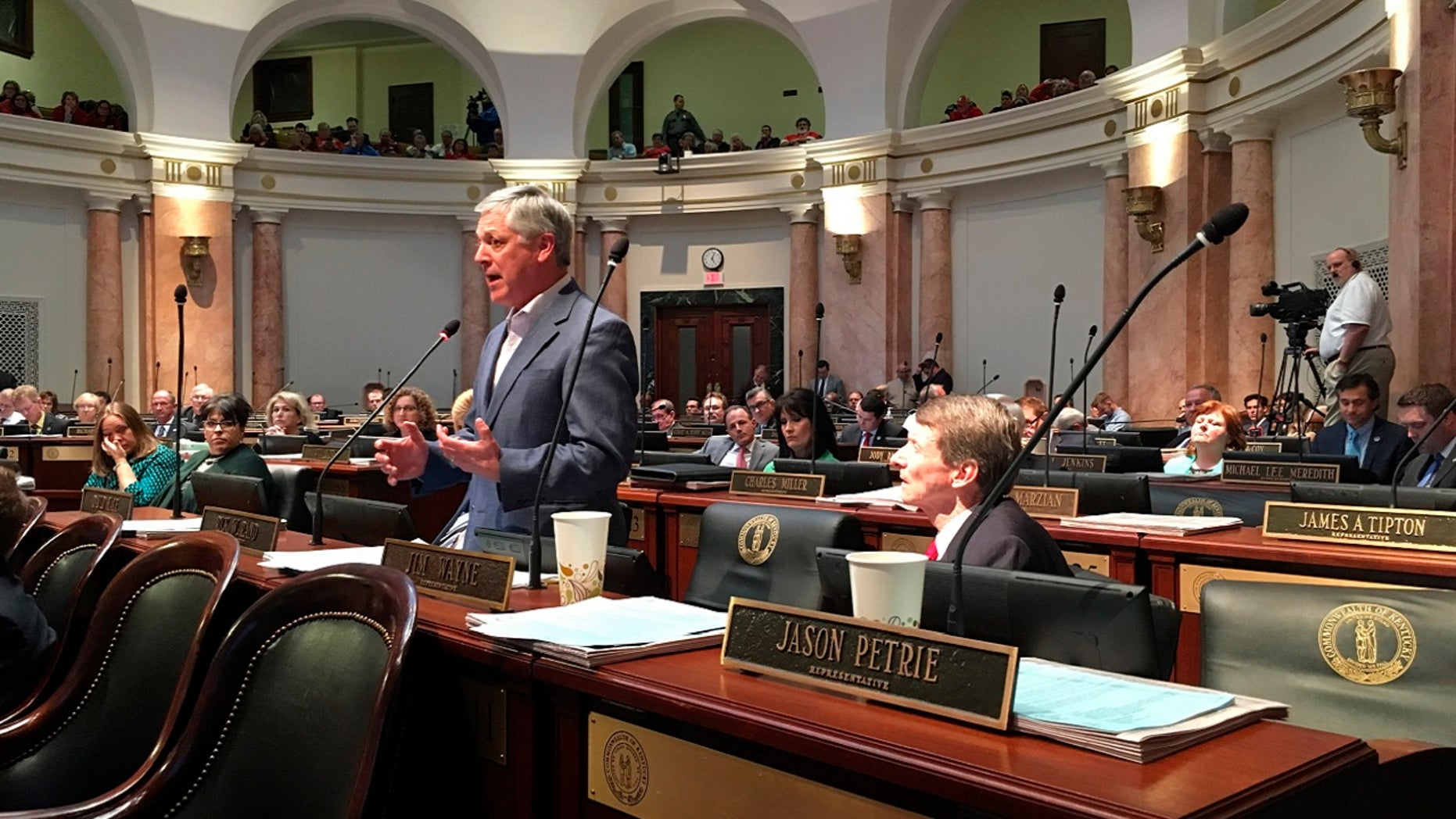 Democratic state Rep. Rick Rand speaks against a bill to change the state's troubled pension system, March 29, 2018 in Frankfort, Ky.