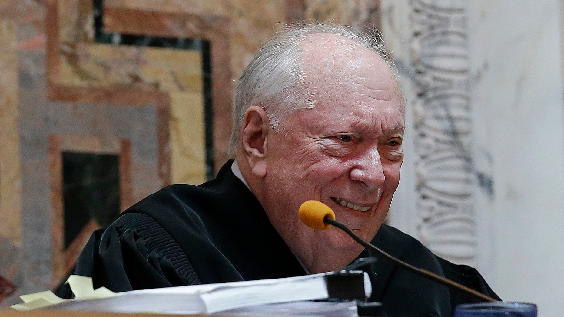 Judge Stephen Reinhardt listens to arguments on gay marriage bans at the 9th U.S. Circuit Court of Appeals in San Francisco, Sept. 8, 2014.