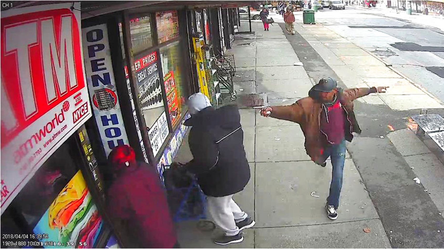 Surveillance video from April 5, 2018, shows Saheed Vassell brandishing a metal object before being fatally shot by police.