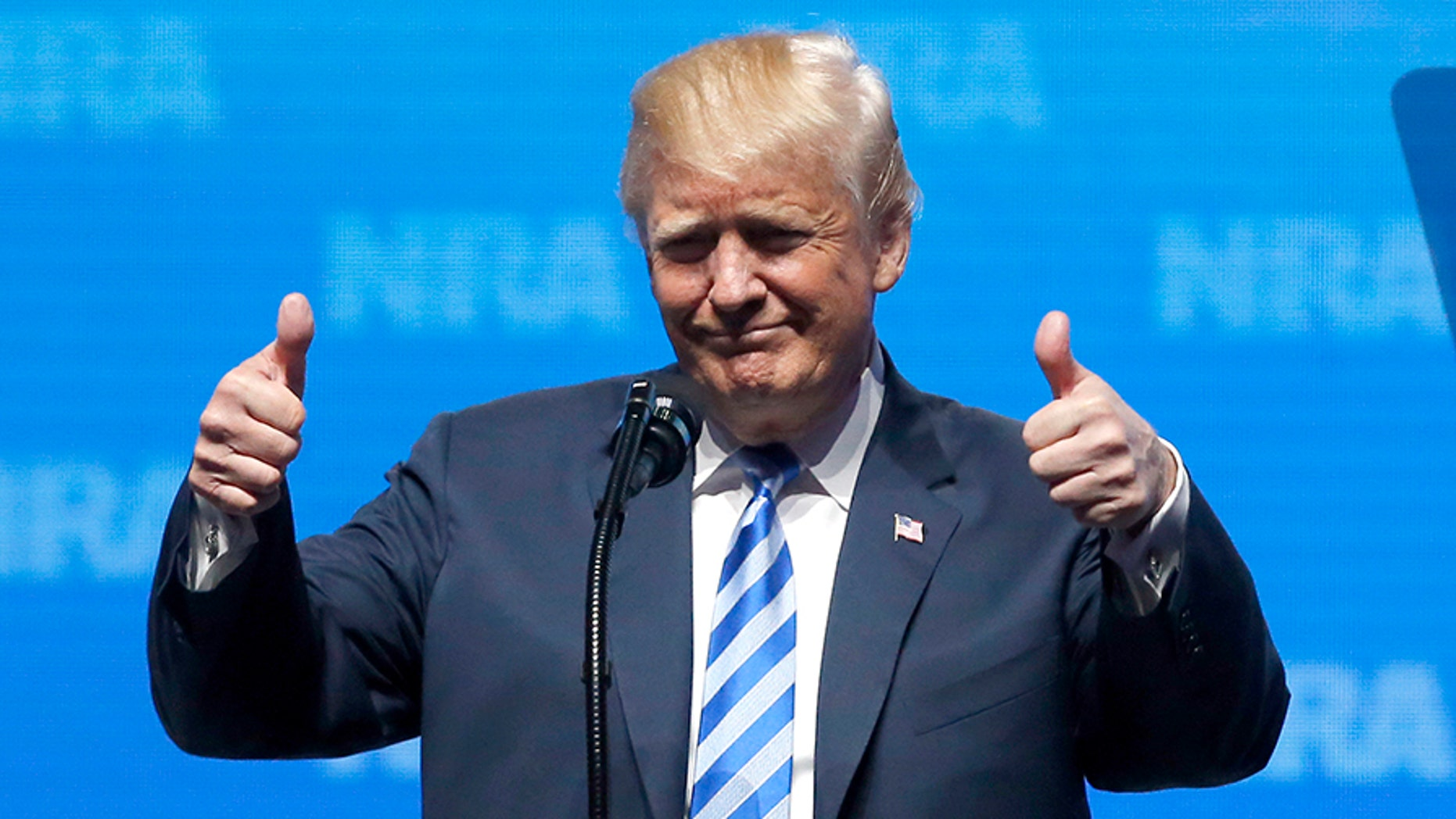 President Donald Trump spoke at the National Rifle Association annual convention in Dallas, Texas on Friday.