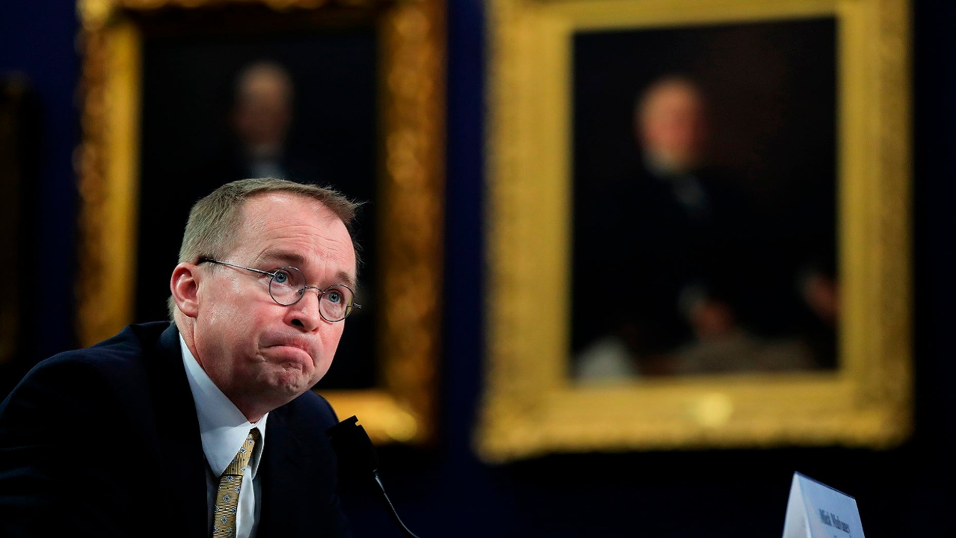 Mick Mulvaney, director of the U.S. Office of Management and Budget, testifies at a House Appropriations Committee hearing in Washington, April 18, 2018.