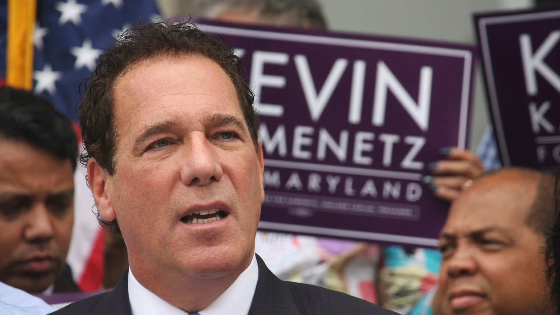 FILE - In this Sept. 18, 2017, file photo, Baltimore County Executive Kevin Kamenetz announces he is joining the race for governor in Towson, Md. Kamenetz is running in a crowded Democratic primary. News outlets cite a release from Baltimore County police that says Kamenetz died early Thursday, May 10, 2018, following a cardiac arrest. (AP Photo/Brian Witte, File)