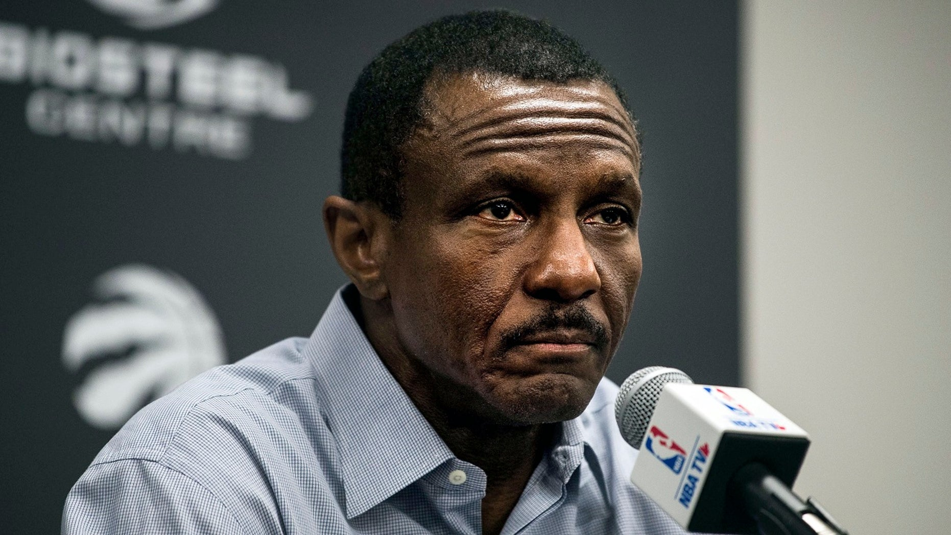 In this Wednesday, May 9, 2018 photo, Toronto Raptors head coach Dwane Casey speaks to media during  an end-of-season NBA basketball media availability in Toronto,. The Raptors have fired Casey on Friday, May 11, 2018, after the team was swept in the playoffs by the Cleveland Cavaliers for second straight season. (Aaron Vincent Elkaim/The Canadian Press via AP, File)
