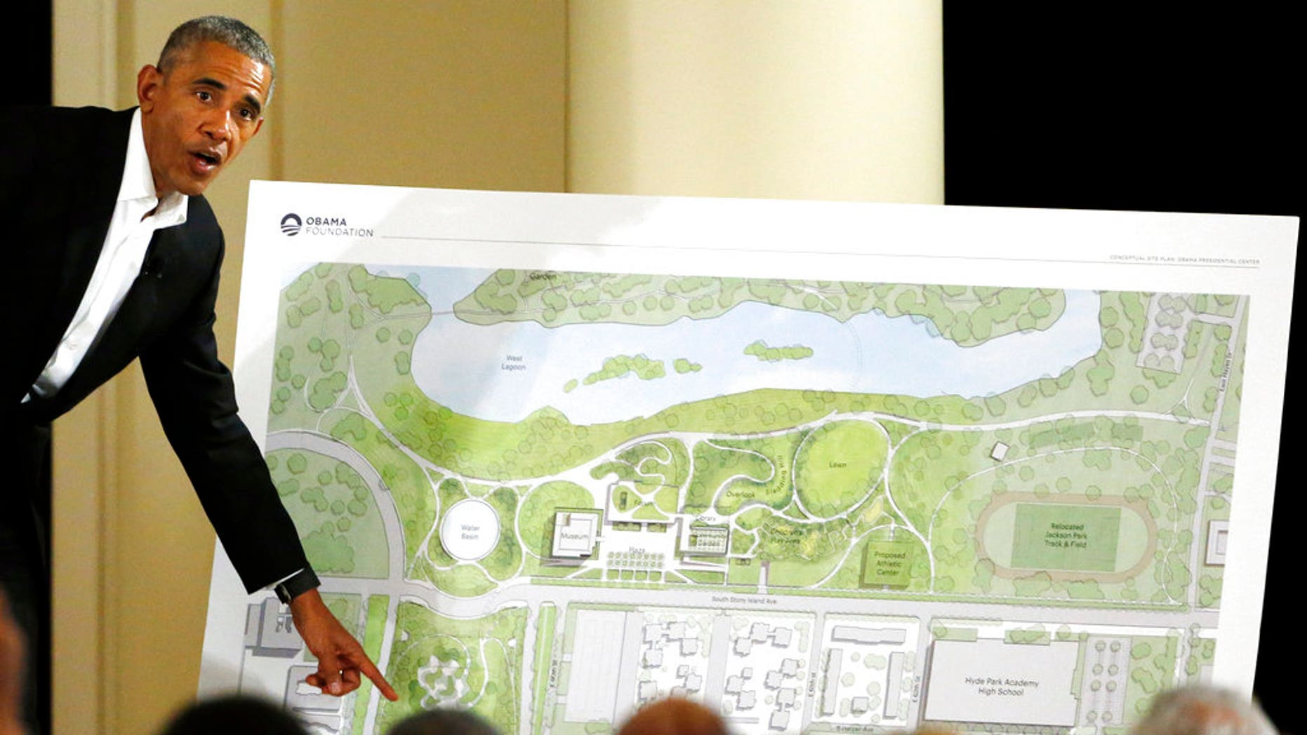 Former President Barack Obama describes the plans for the Obama Presidential Center during an appearance in Chicago.