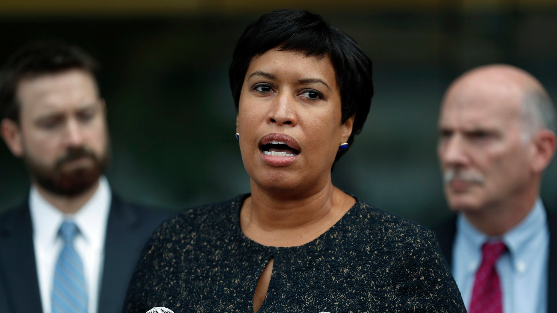 In this Oct. 5, 2017, file photo, District of Columbia Mayor Muriel Bowser speaks in Washington. The mayor of the nation's capital is a mom after adopting a newborn. Bowser announced the adoption in a statement on Monday, May 21, 2018.