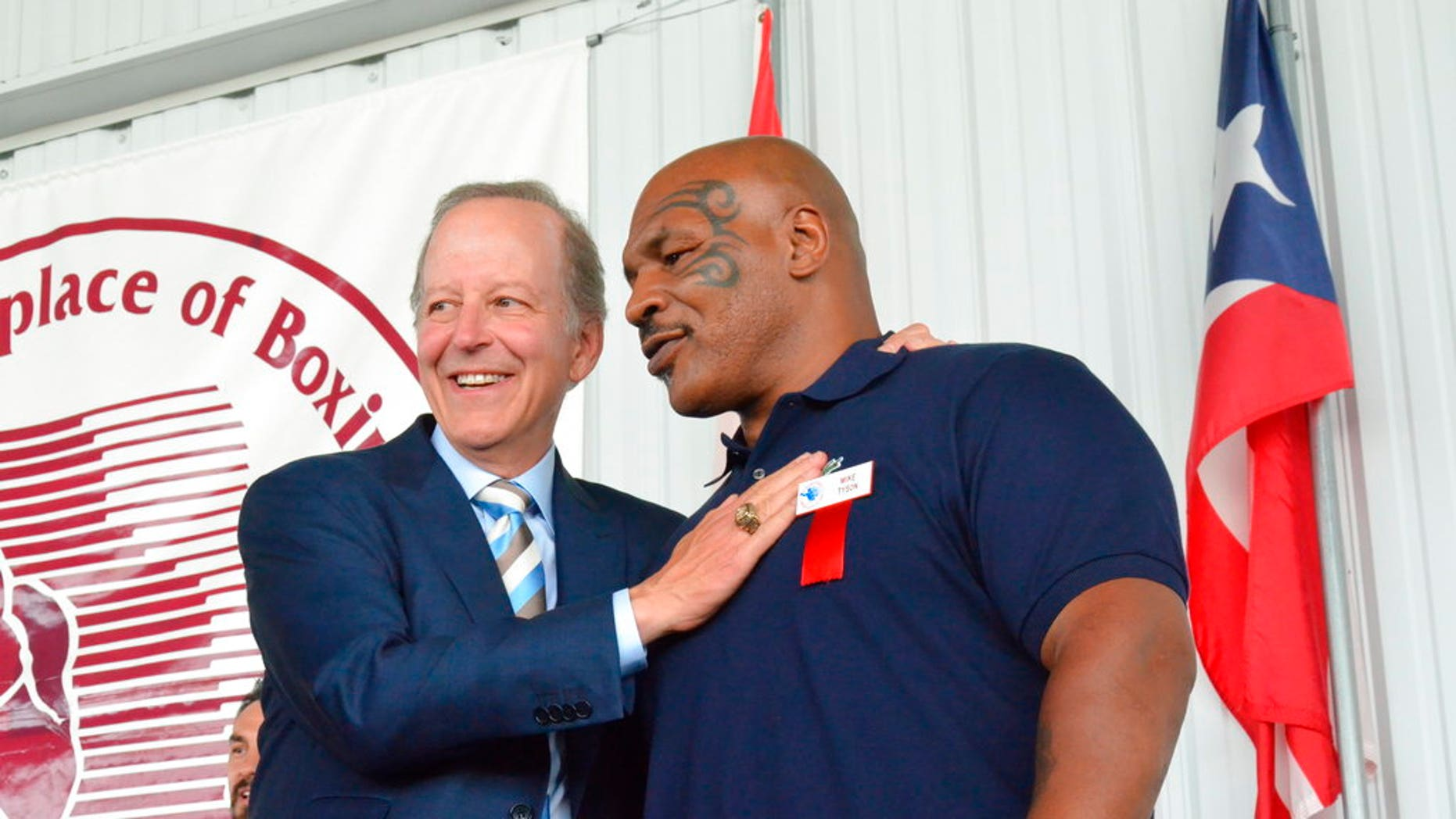 Jim Gray was introduced by Mike Tyson at the International Boxing Hall of Fame induction ceremony in Canastota, New York on Sunday, June 10.