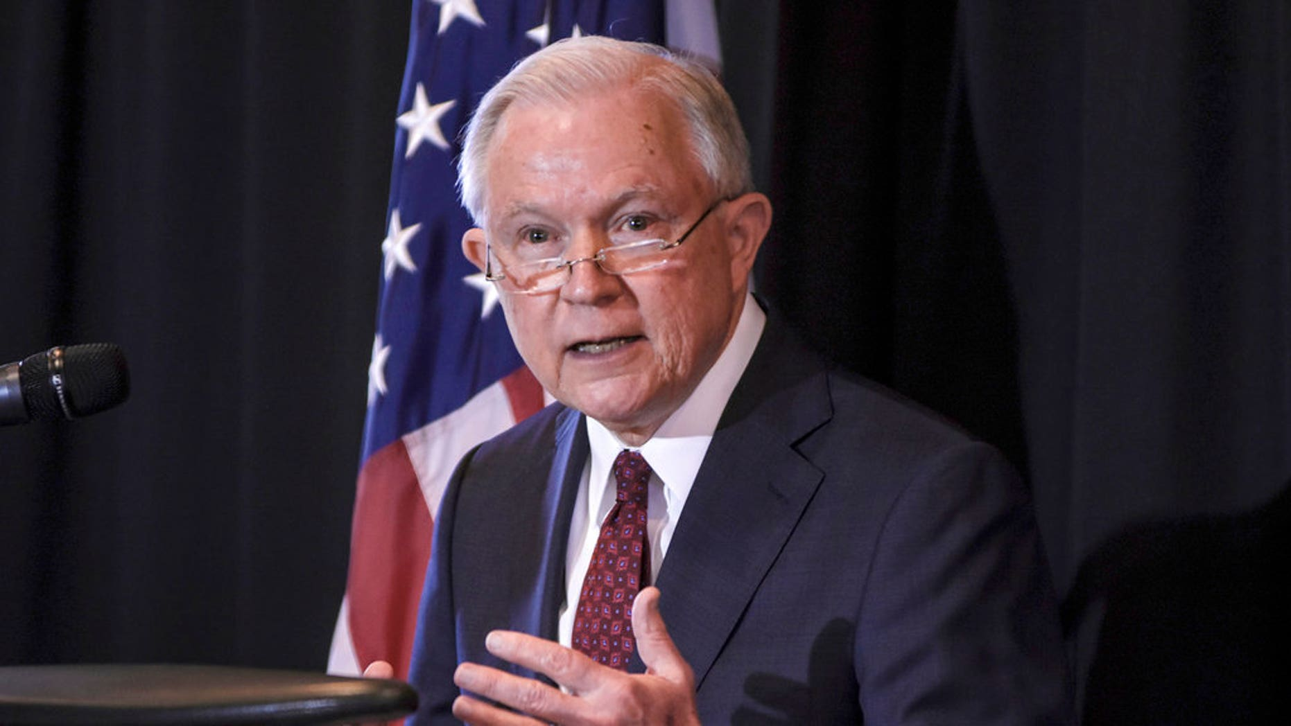 In this June 14, 2018, file photo, U.S. Attorney General Jeff Sessions speaks about immigration at Parkview Field in Fort Wayne, Indiana.