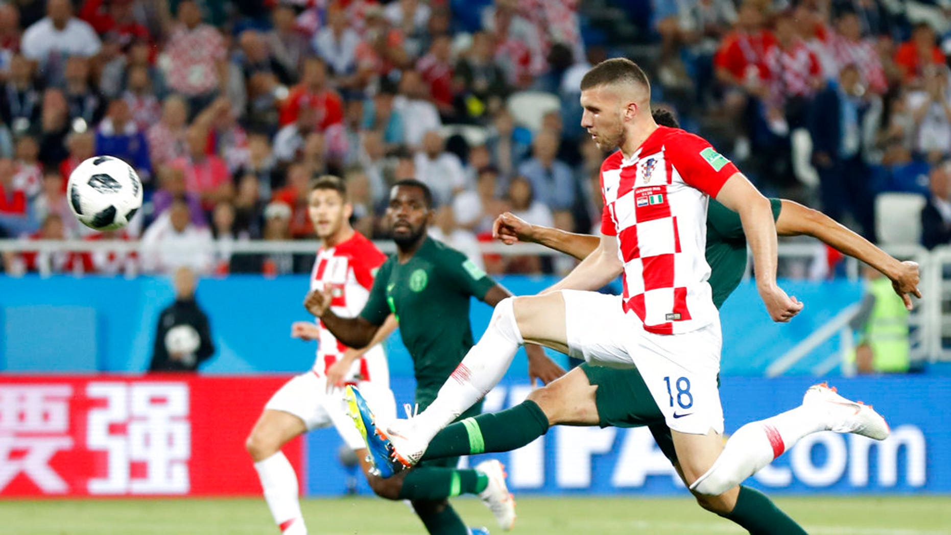 Croatia's Ante Rebić kicks the ball during the team's opening World Cup match against Nigeria. Nikola Kalinić (not pictured) was sent home for refusing to participate in the Saturday match.
