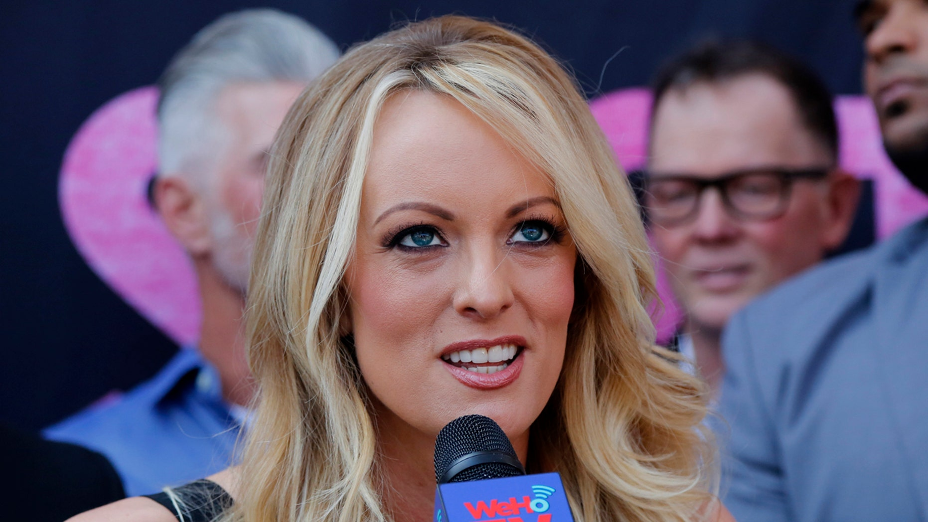 Porn actress Stormy Daniels speaks during a ceremony for her receiving a City Proclamation and Key to the City in West Hollywood, Calif.,  May 23, 2018.