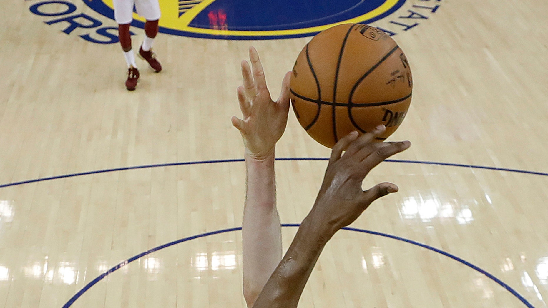 Players during the first half of Game 2 of basketball's NBA Finals in Oakland, Calif., June 3, 2018.