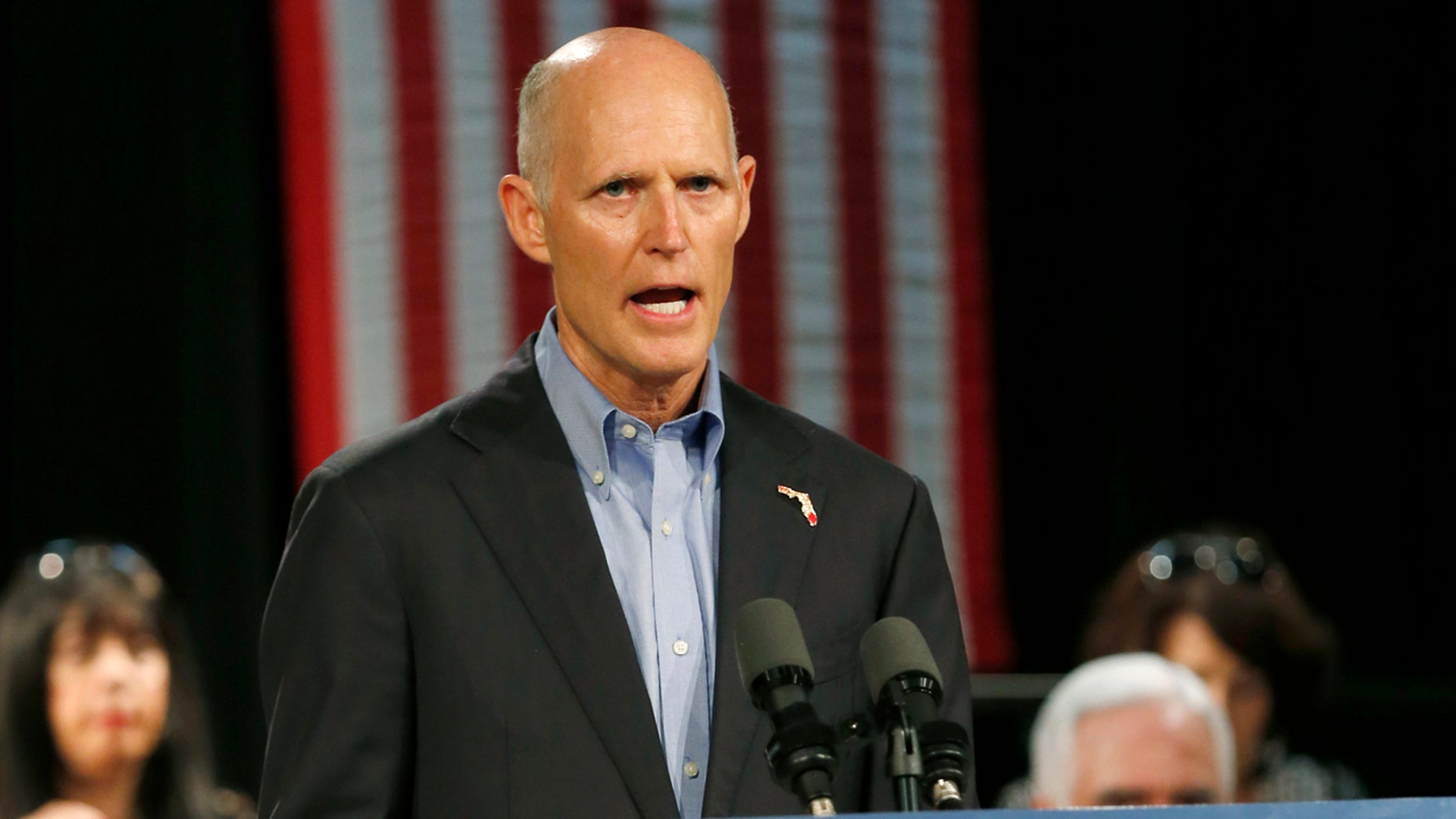 Florida Gov. Rick Scott, speaks at a campaign stop, in Hialeah, Fla., July 13, 2018.