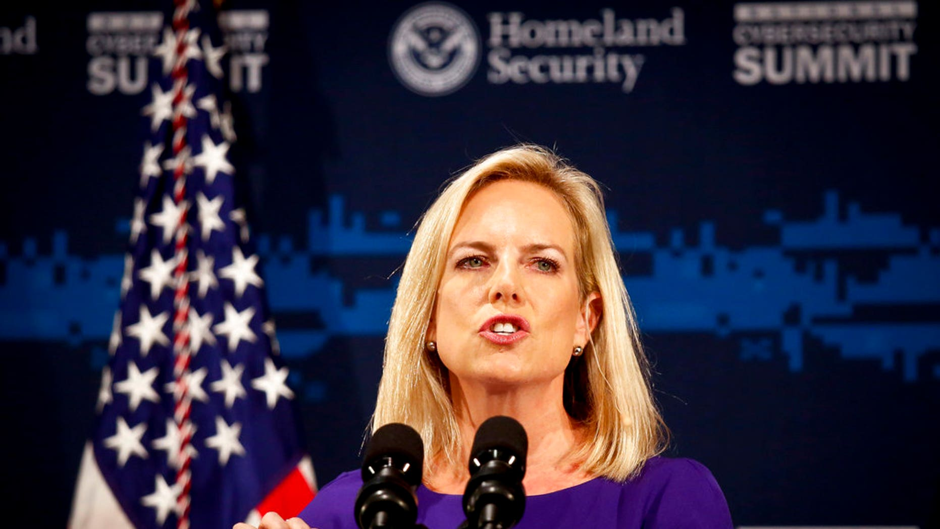 Secretary of Homeland Security Kirstjen Nielsen addresses the Department of Homeland Security (DHS) National Cybersecurity Summit, July 31, 2018.