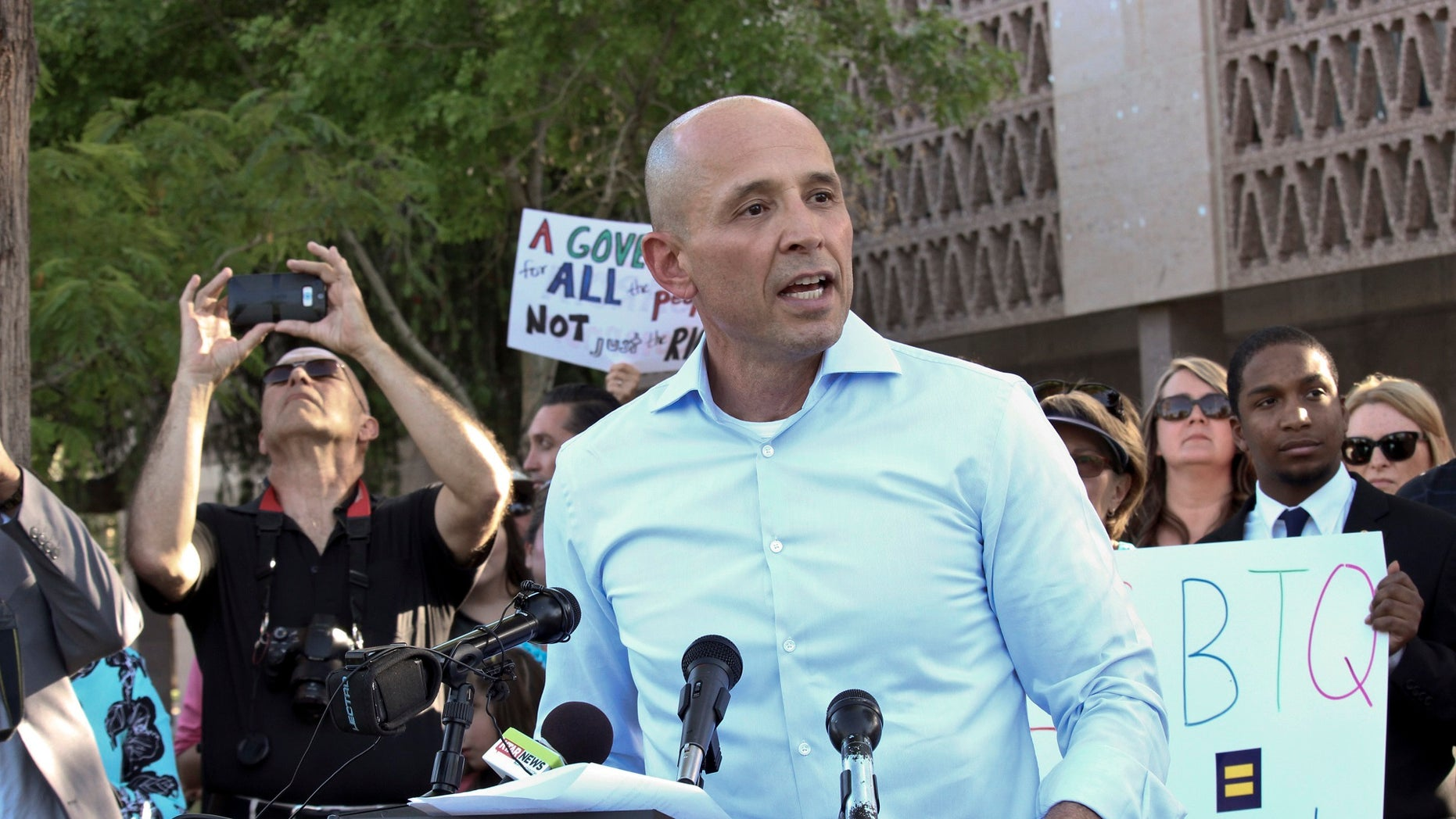 A campaign staffer for David Garcia, the Arizona Democratic gubernatorial candidate seen here, has resigned after old tweets surfaced.