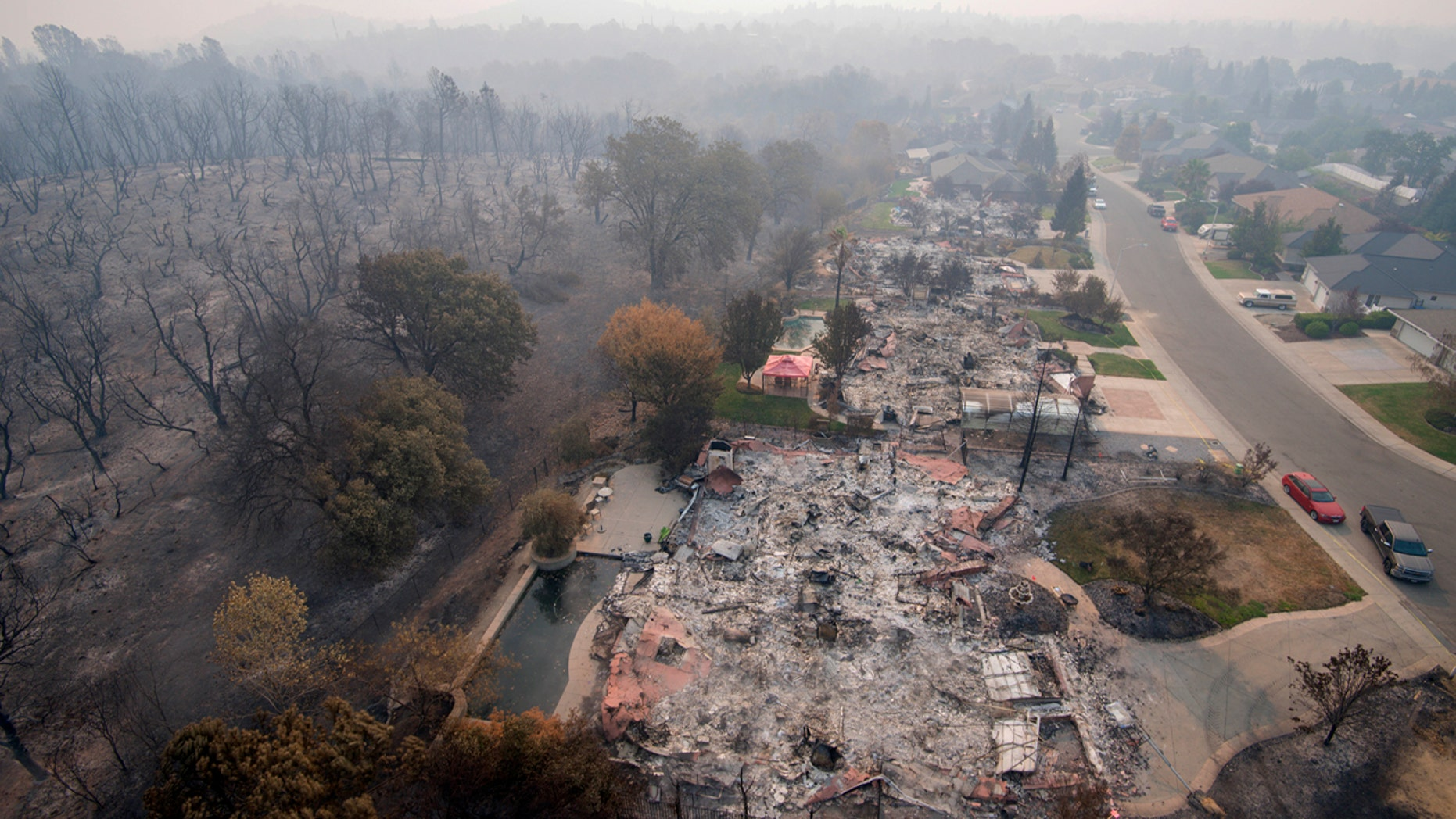 Homes destroyed by a wildfire are seen from an aerial view in the Mary Lake Subdivision in Redding, Calif., Aug. 10, 2018.