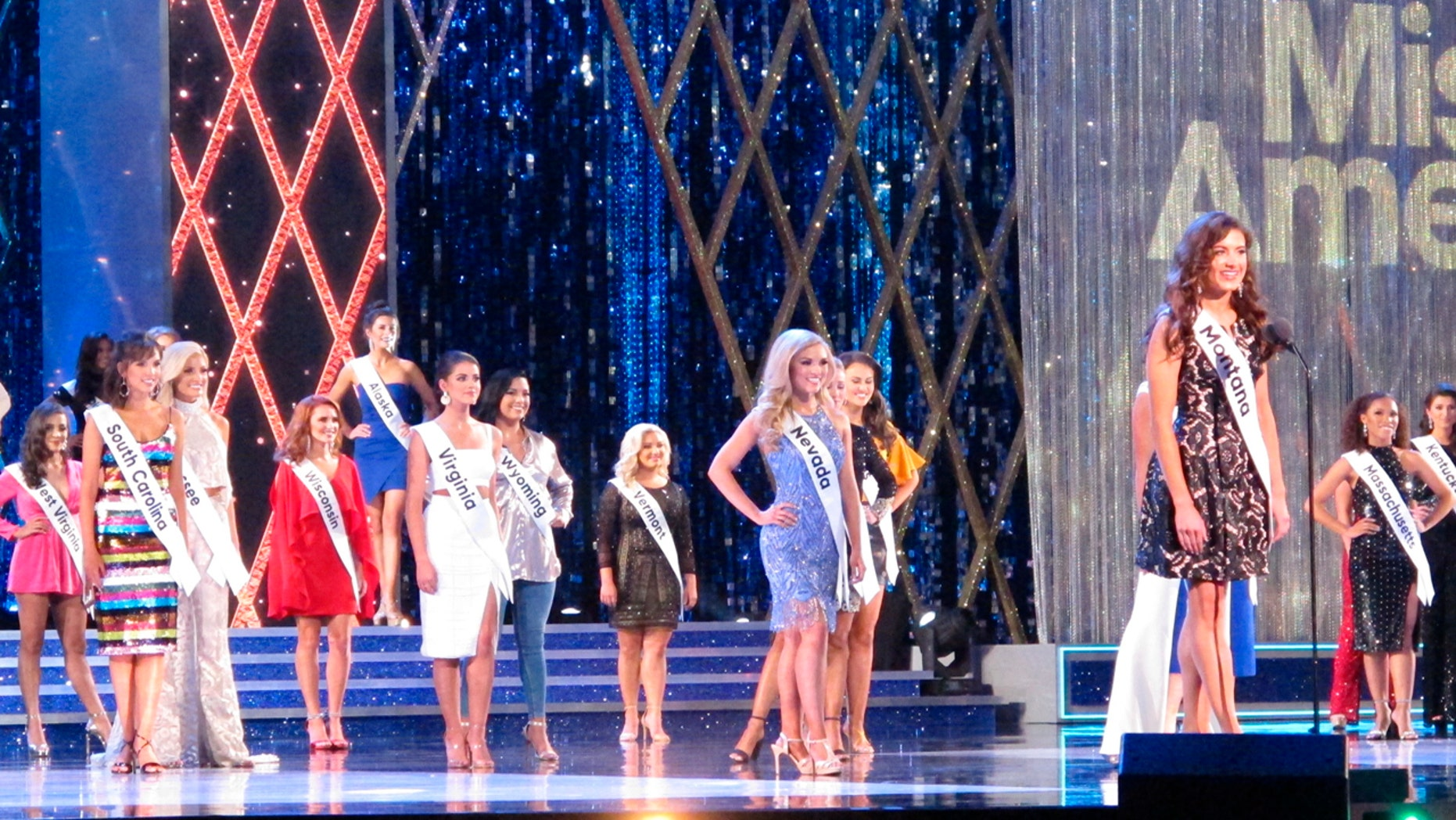 Laura Lynn Haller, Miss Montana, introduces herself at the start of preliminary competition in the Miss America pagaent, Sept. 5, 2018, in Atlantic City, N.J.