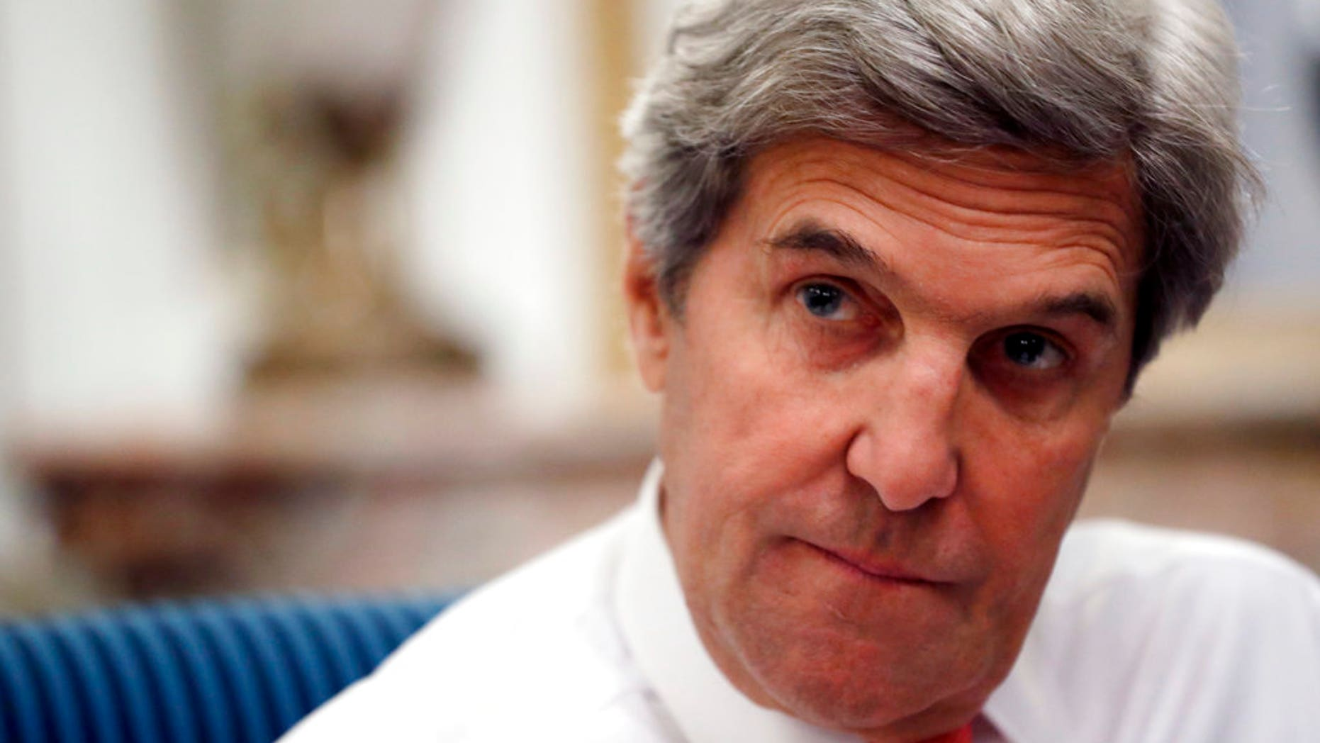 FILE: U.S Secretary of State John Kerry speaks with the media after attending the Mideast peace conference in Paris.