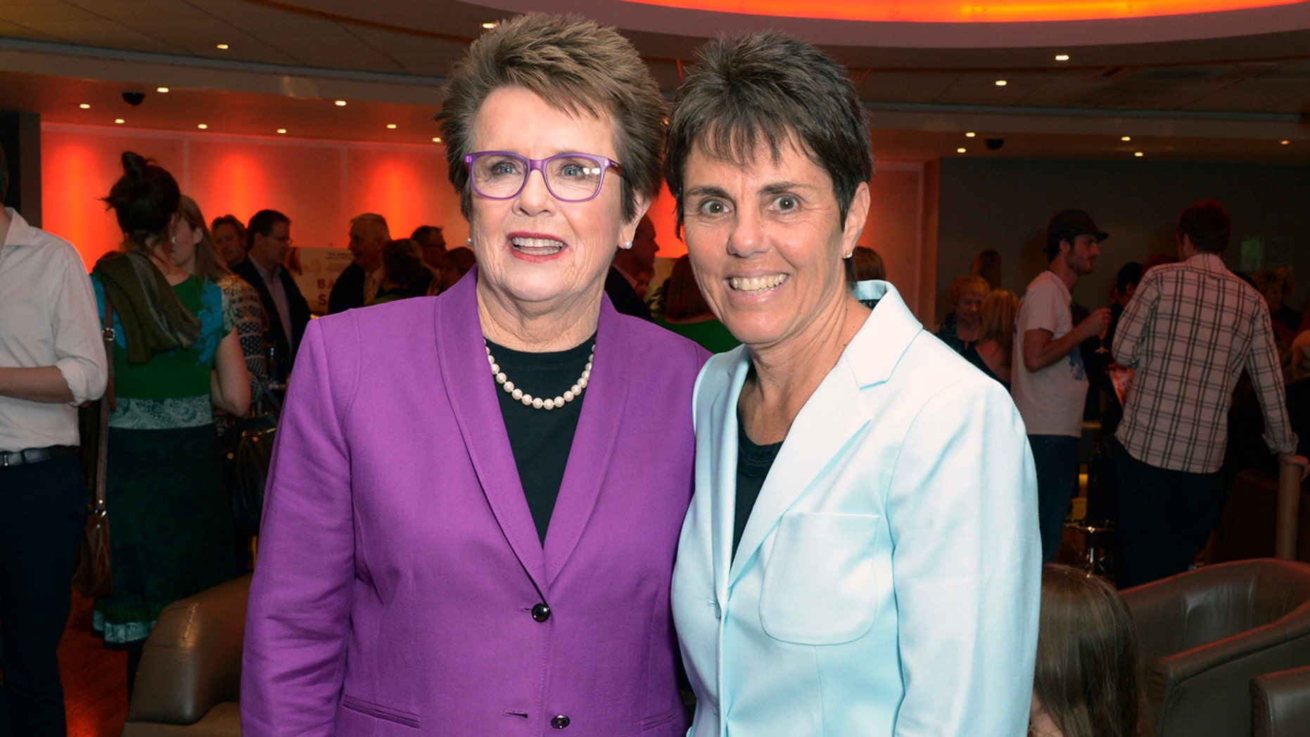 """Former professional tennis champion Billie Jean King, left, and partner Ilana Kloss at the premiere of """"Battle of the Sexes"""" in London, June 26 2013."""