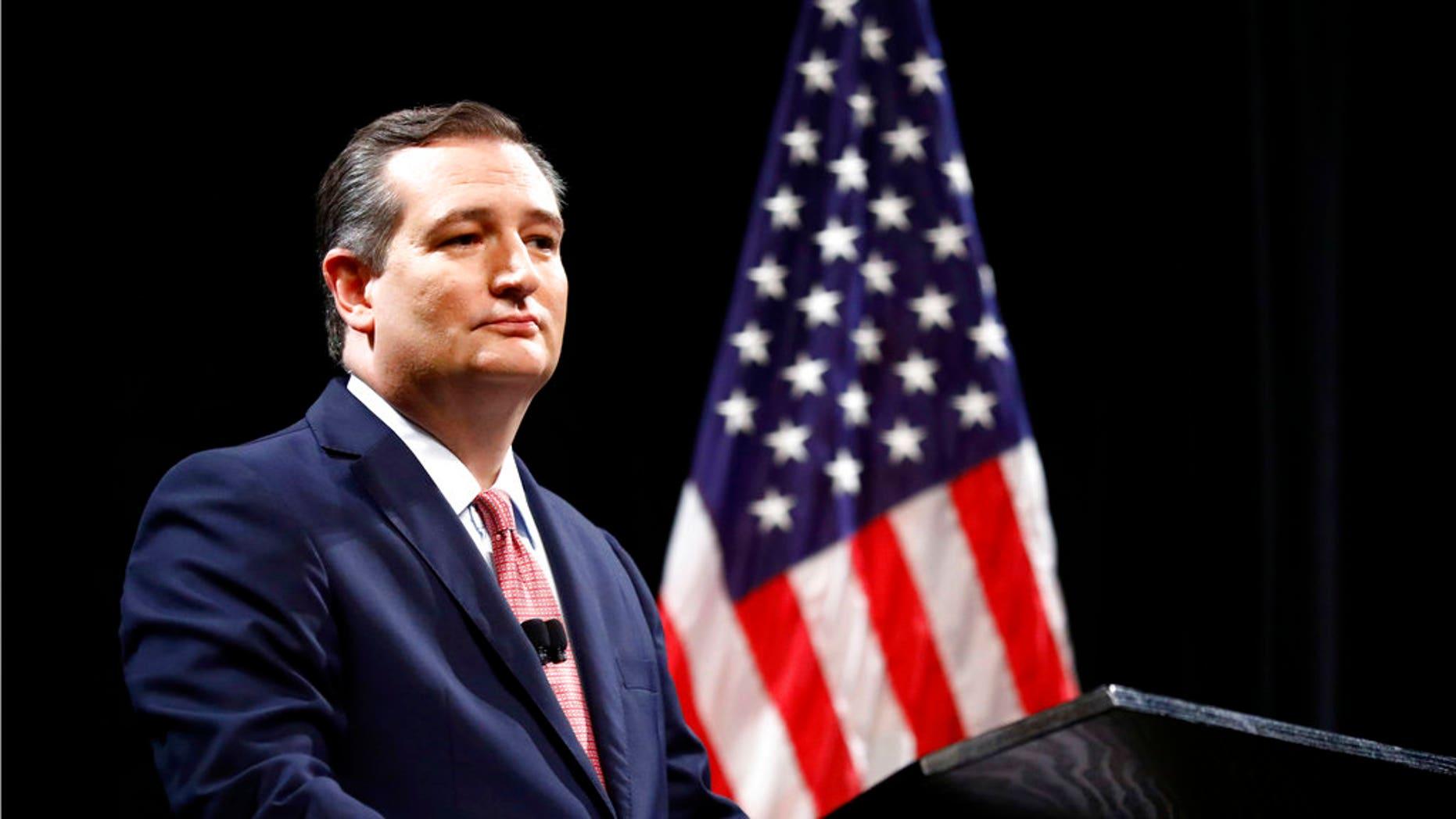 FILE: Republican U.S. Senator Ted Cruz takes part in a debate for the Texas U.S. Senate with Democratic Rep. Beto O'Rourke, in Dallas.