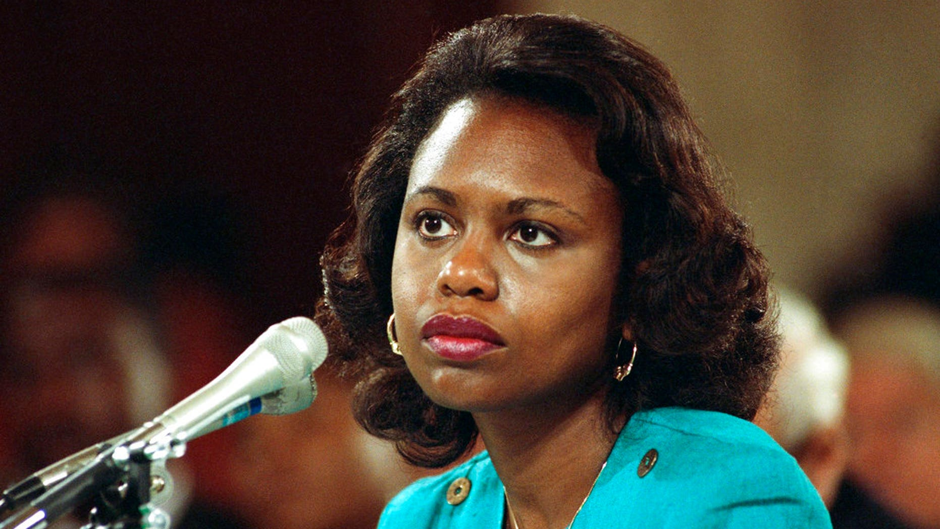 University of Oklahoma law professor Anita Hill testifying before the Senate Judiciary Committee on the nomination of Clarence Thomas to the Supreme Court on Capitol Hill in Washington, Oct. 11, 1991.