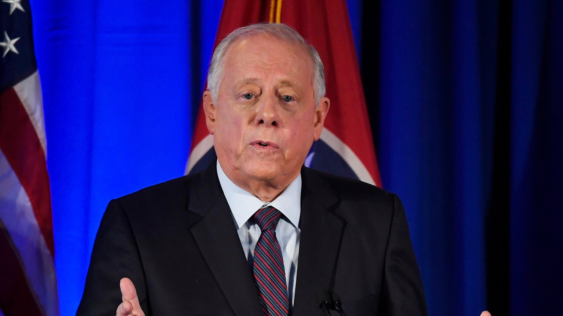 Democratic candidate and former Gov. Phil Bredesen speaks at the 2018 Tennessee U.S. Senate Debate against Republican U.S. Rep. Marsha Blackburn at Cumberland University Tuesday, Sept. 25, 2018, in Lebanon, Tenn. (Lacy Atkins/The Tennessean via AP, Pool)