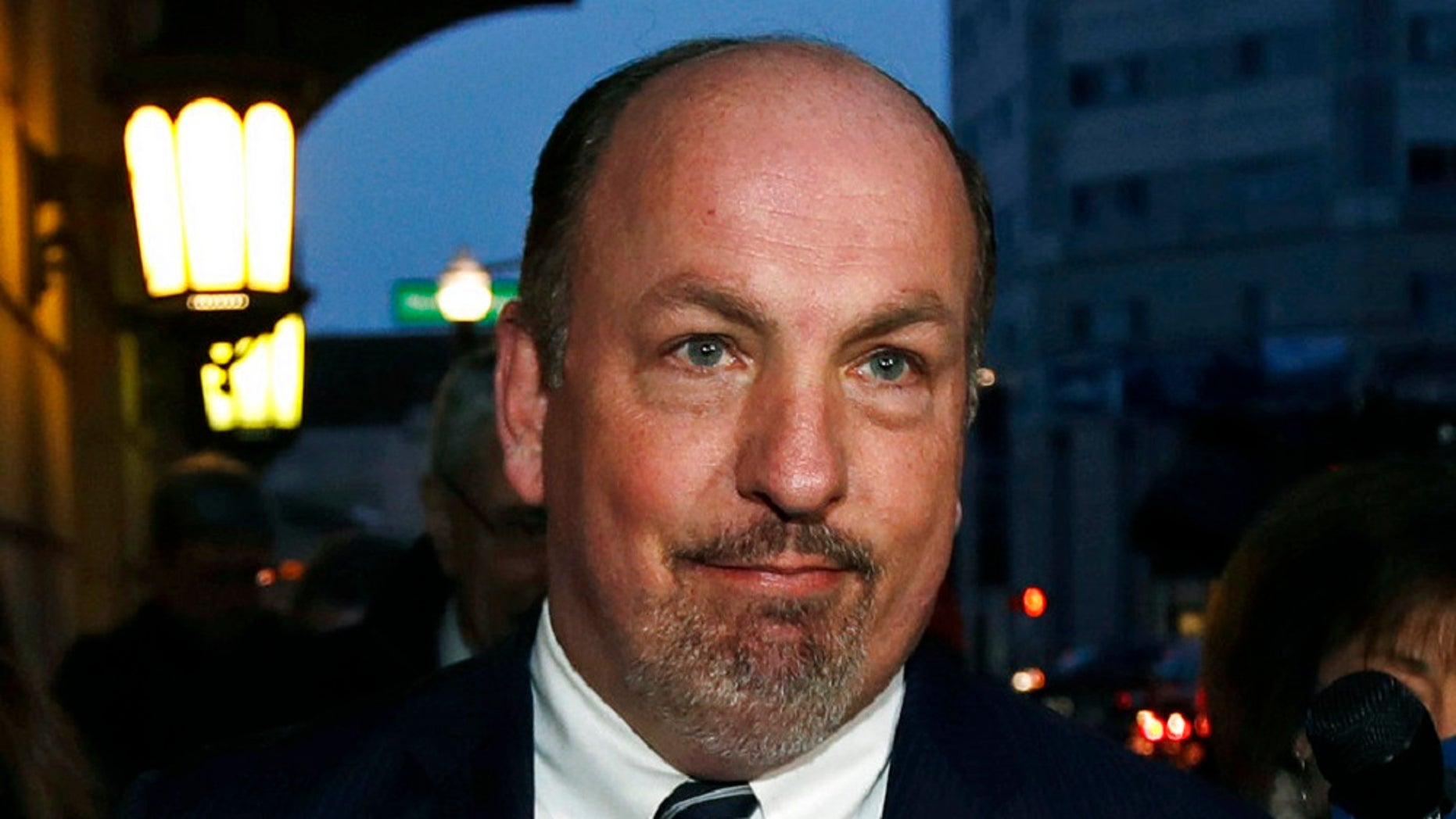 FILE - In this Dec. 8, 2017, file photo, former Massachusetts State Sen. Brian Joyce leaves the U.S. federal courthouse in Worcester, Mass. Joyce, was awaiting trial on federal corruption charges, was found dead in his Westport, Mass. home on Thursday, Sept. 27, 2018. (AP Photo/Charles Krupa, File)