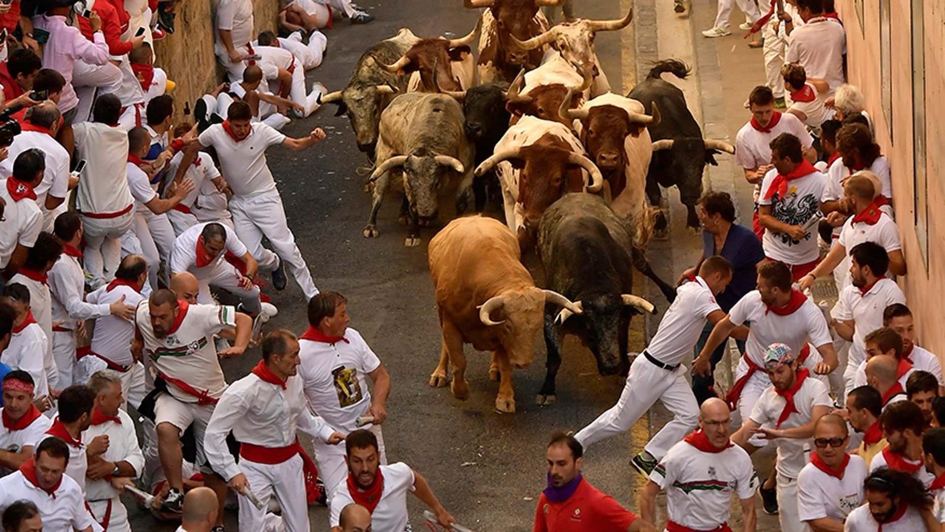 Revellers run in front of Cebada Gago fighting bulls during the first running of the bulls at the San Fermin Festival, in Pamplona, northern Spain, Friday, July 7, 2017.