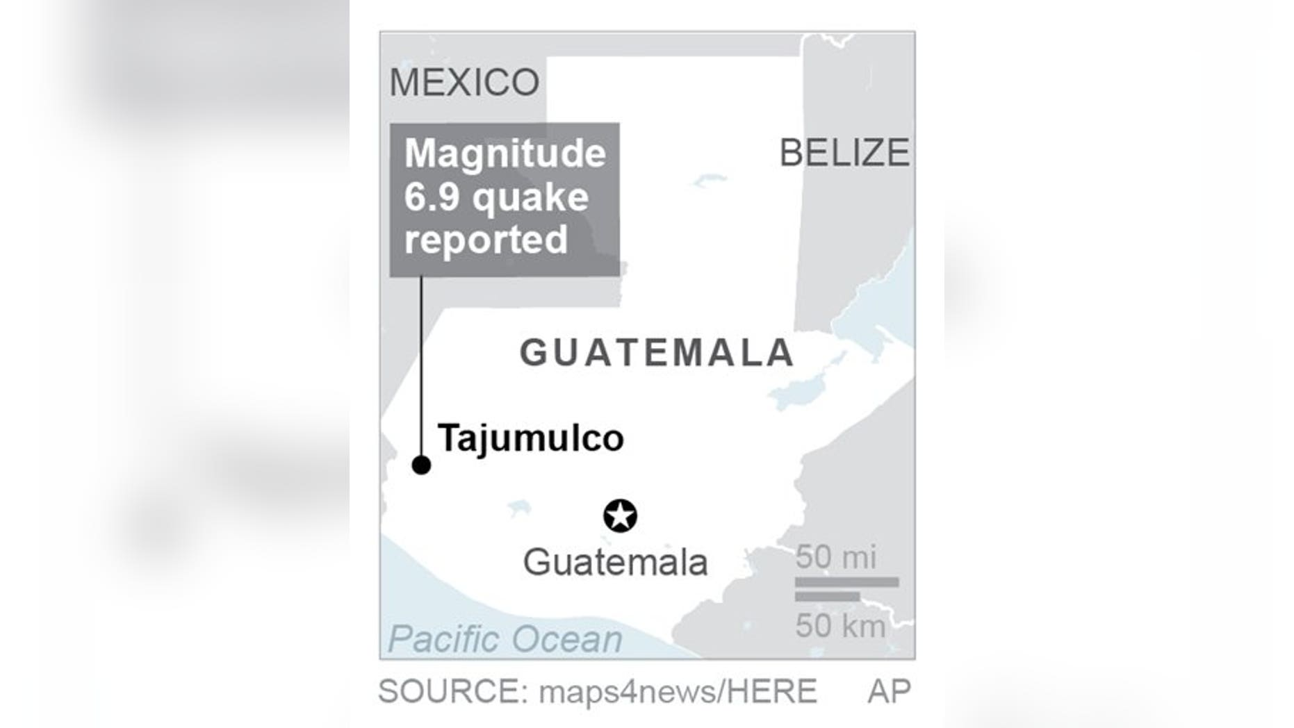 A 6.9-magnitude earthquake struck Tajumulco, Guatemala on Wednesday. (Associated Press)