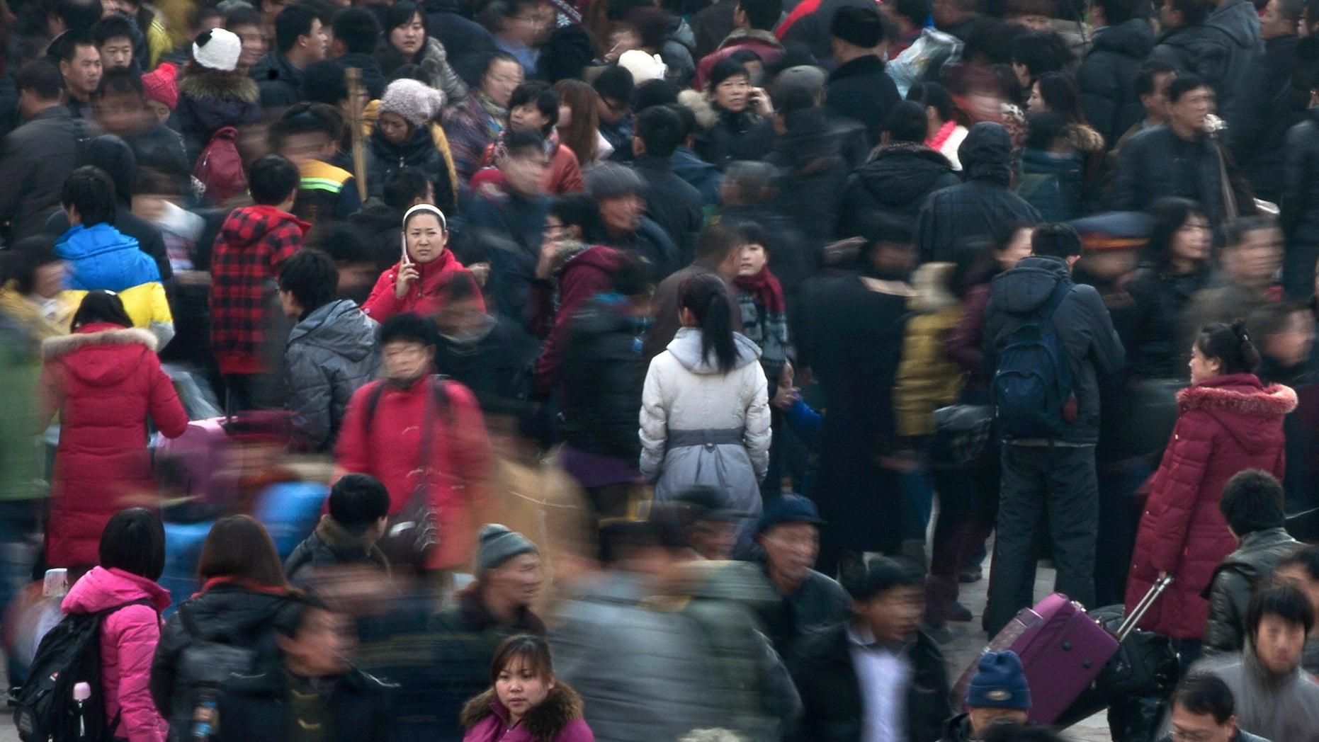 A busy train station in Beijing.