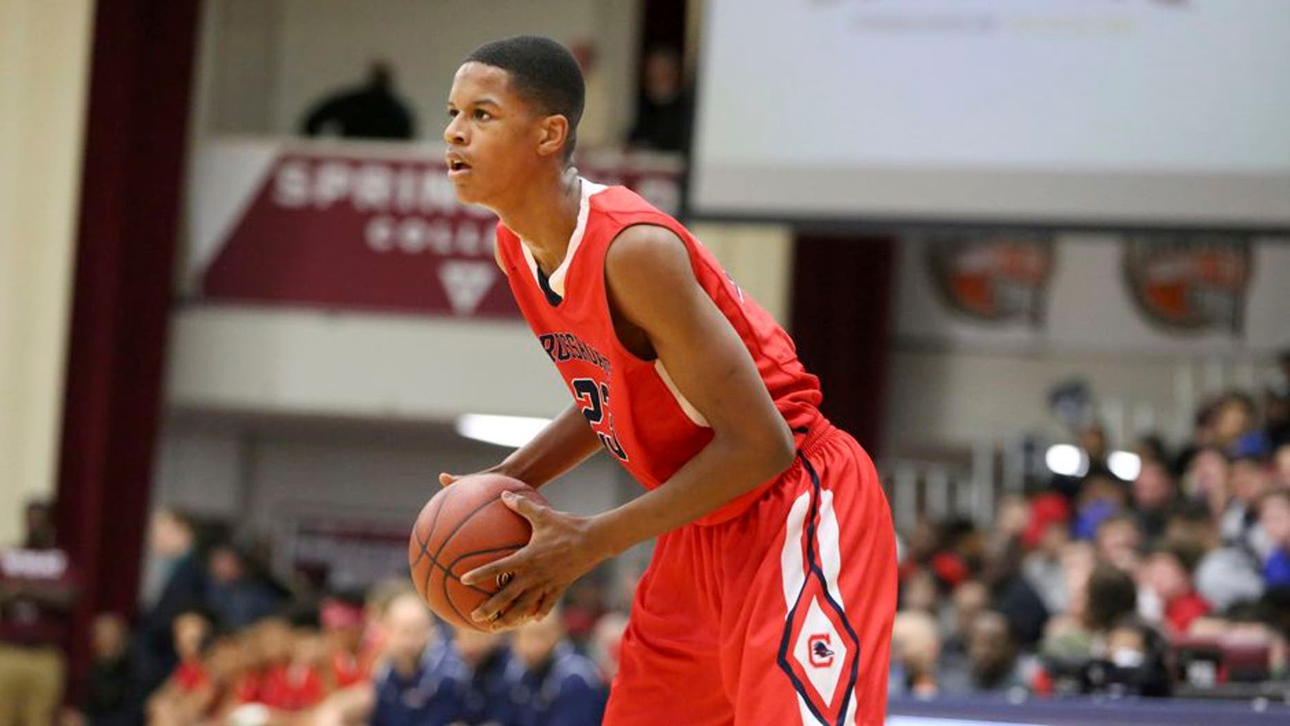 Crossroads School's Shareef O'Neal #23 in action against Cambridge Rindge and Latin during a high school basketball game at the 2017 Hoophall Classic on Saturday, January 14,, 2017, in Springfield, MA.. Cambridge Rindge and Latin won. (AP Photo/Gregory Payan)
