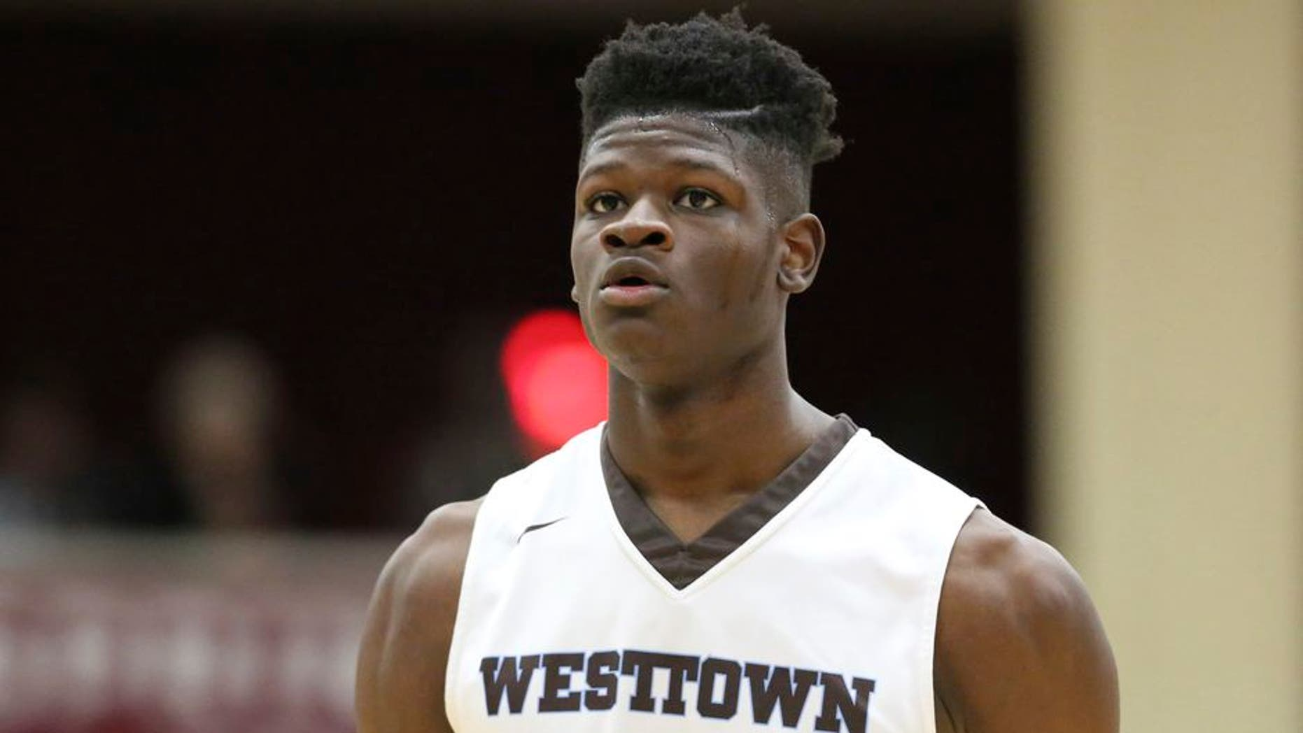 Westtown School's Mo Bamba #11 is seen against Hillcrest Prep during a high school basketball game at the 2017 Hoophall Classic on Saturday, January 14,, 2017, in Springfield, MA.. (AP Photo/Gregory Payan)