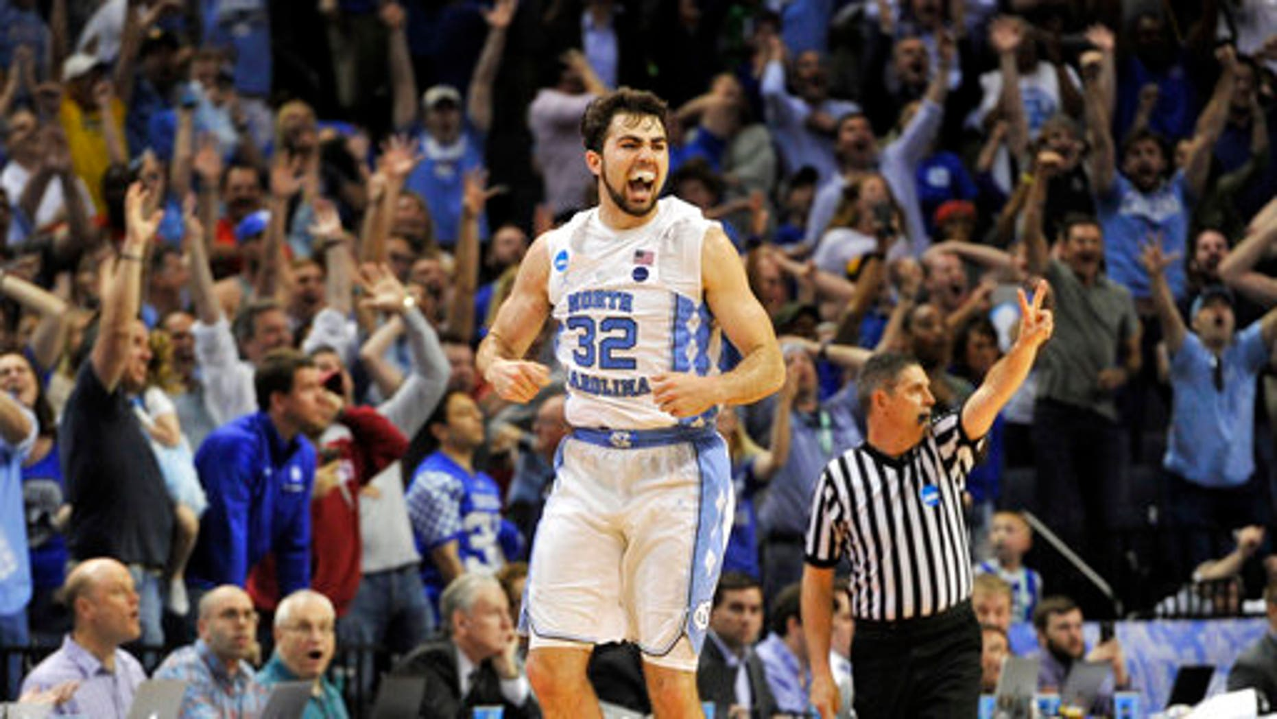North Carolina forward Luke Maye celebrating the win.