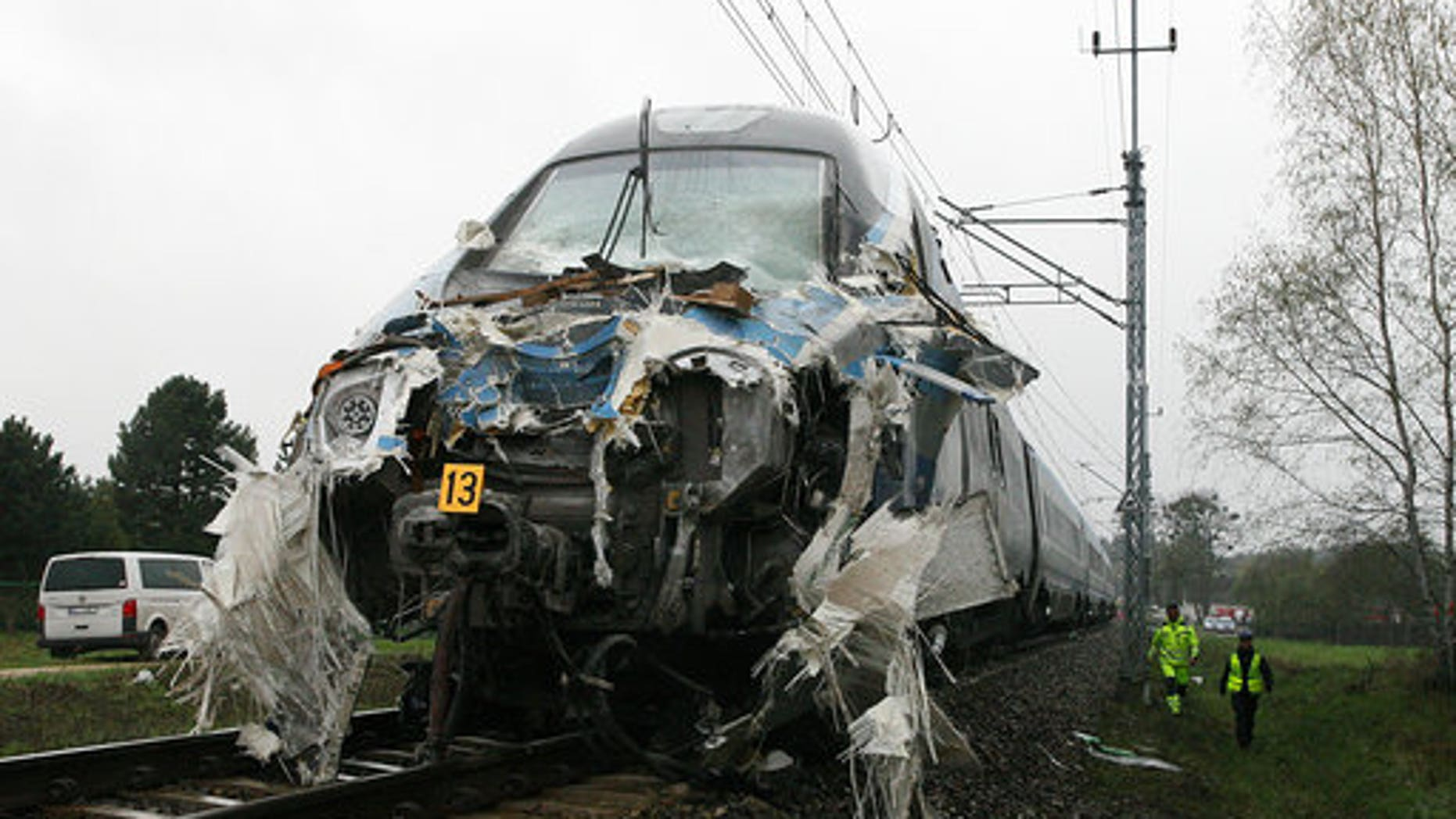 Damage to the train after the crash.