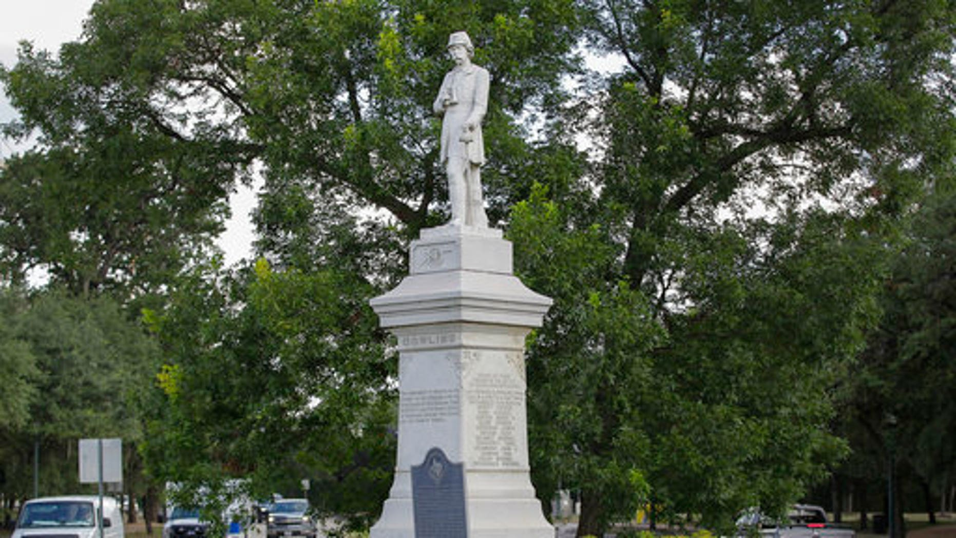 The Richard Dowling statue is shown near the entrance to Hermann Park in Houston on Monday.